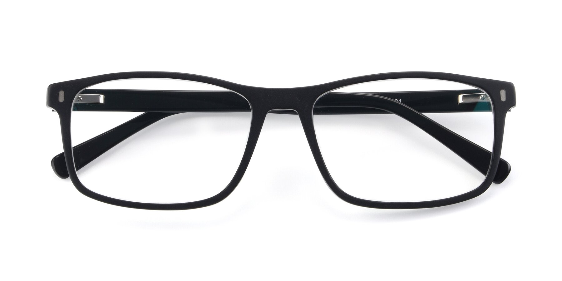 Folded Front of 17474 in Black with Clear Blue Light Blocking Lenses