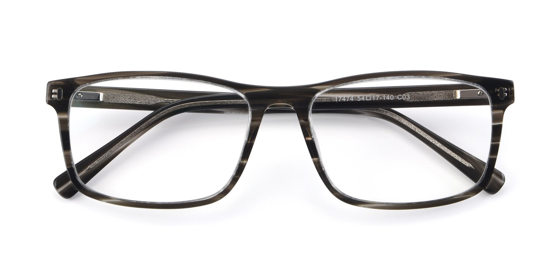 Folded Front of 17474 in Stripe Grey with Clear Eyeglass Lenses