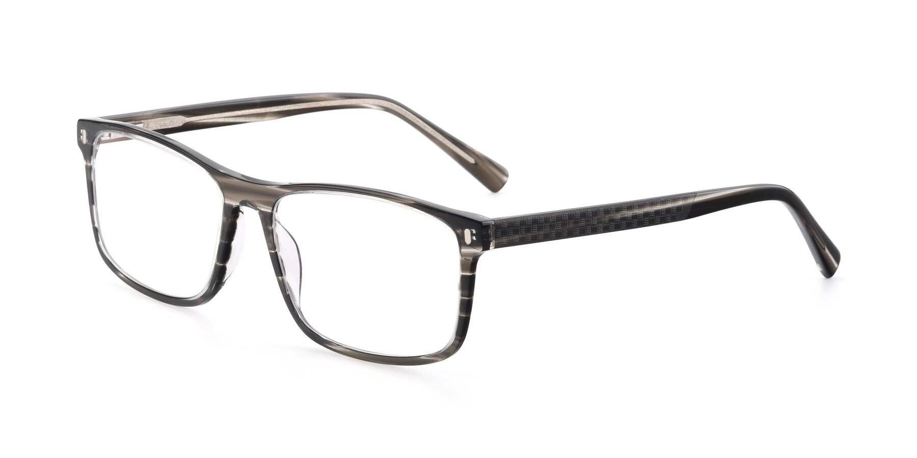 Angle of 17474 in Stripe Grey with Clear Eyeglass Lenses