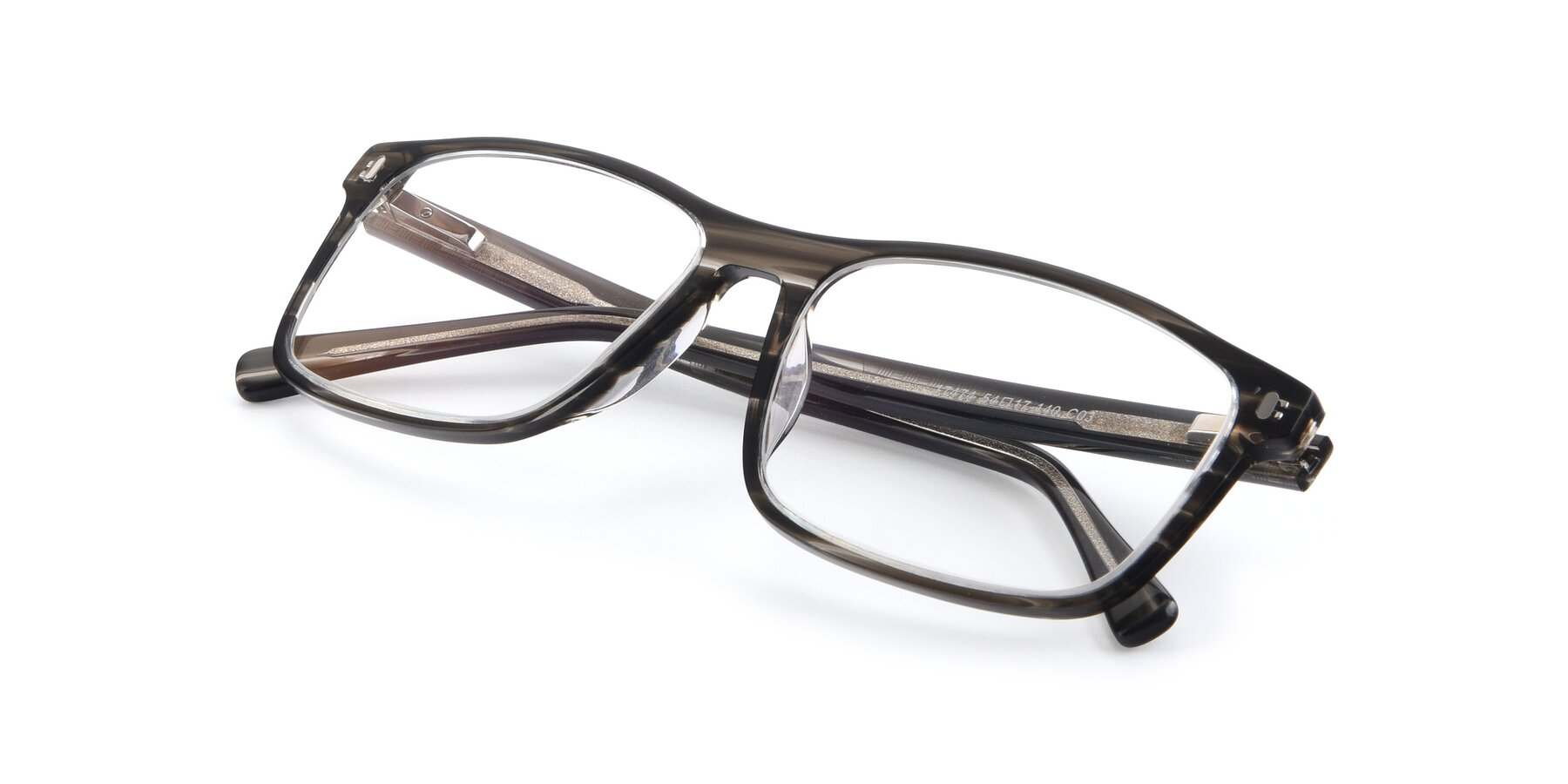 View of 17474 in Stripe Grey with Clear Eyeglass Lenses
