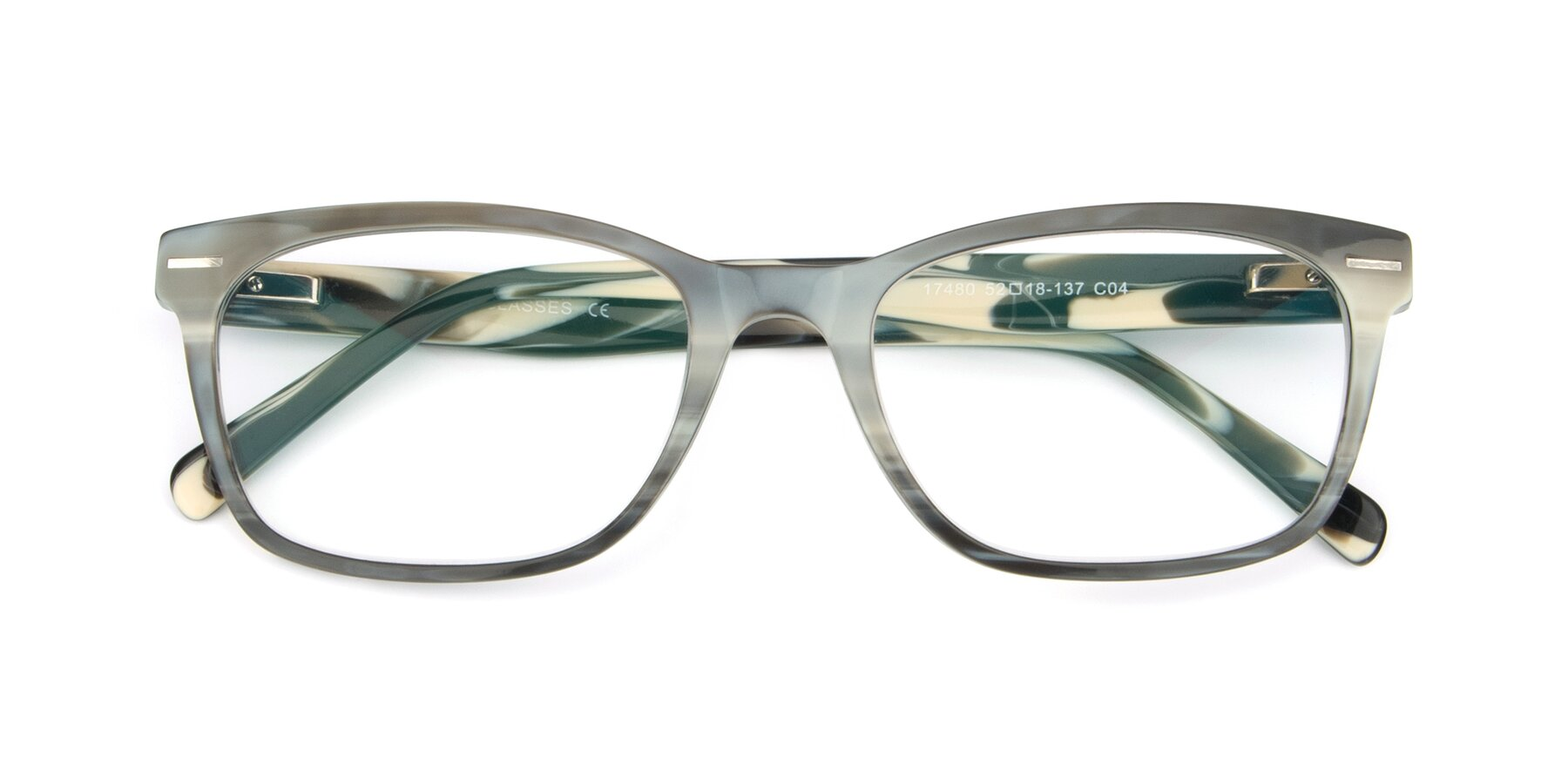 Folded Front of 17480 in Stripe Coffee with Clear Eyeglass Lenses