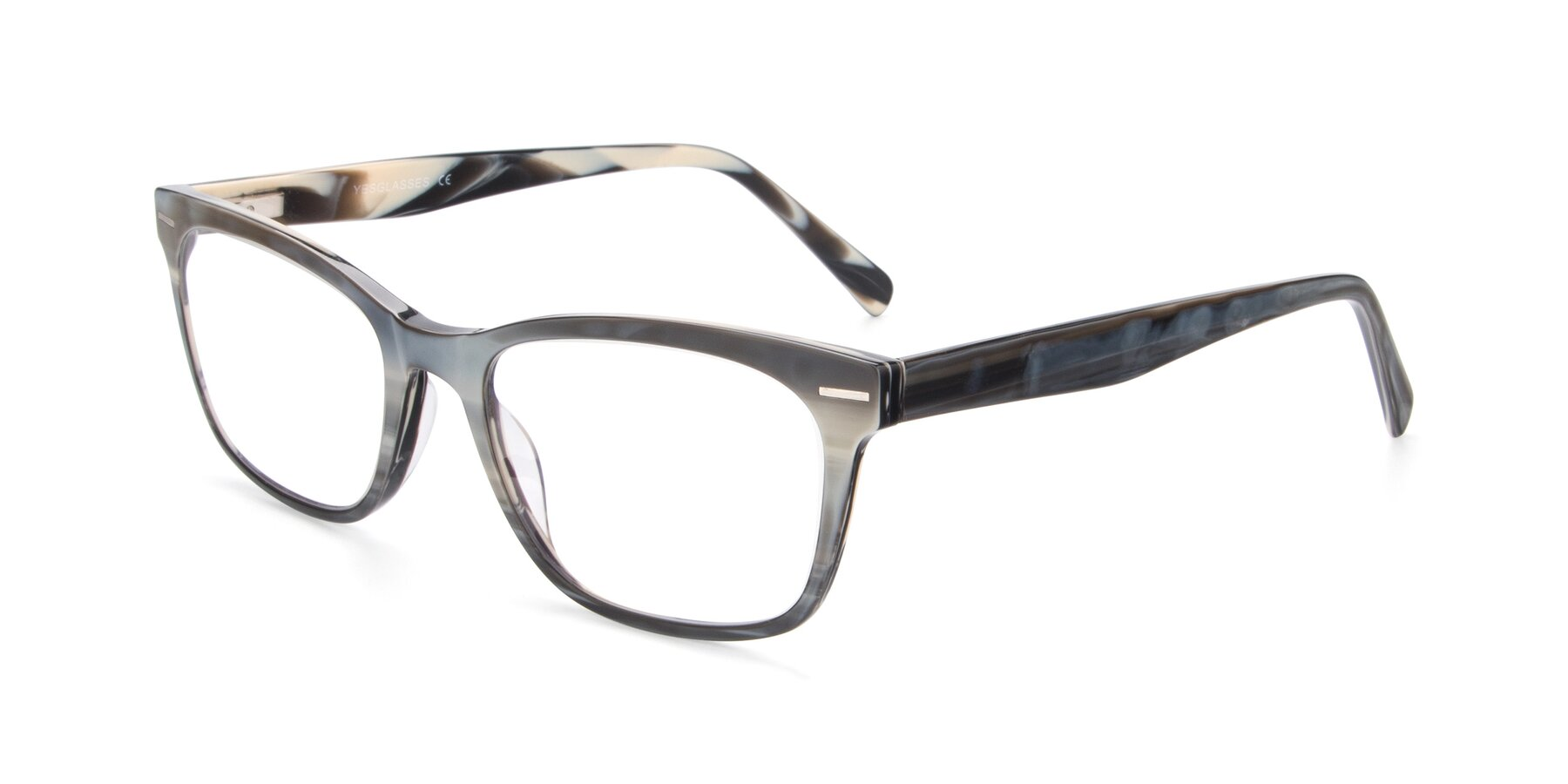 Angle of 17480 in Stripe Coffee with Clear Eyeglass Lenses