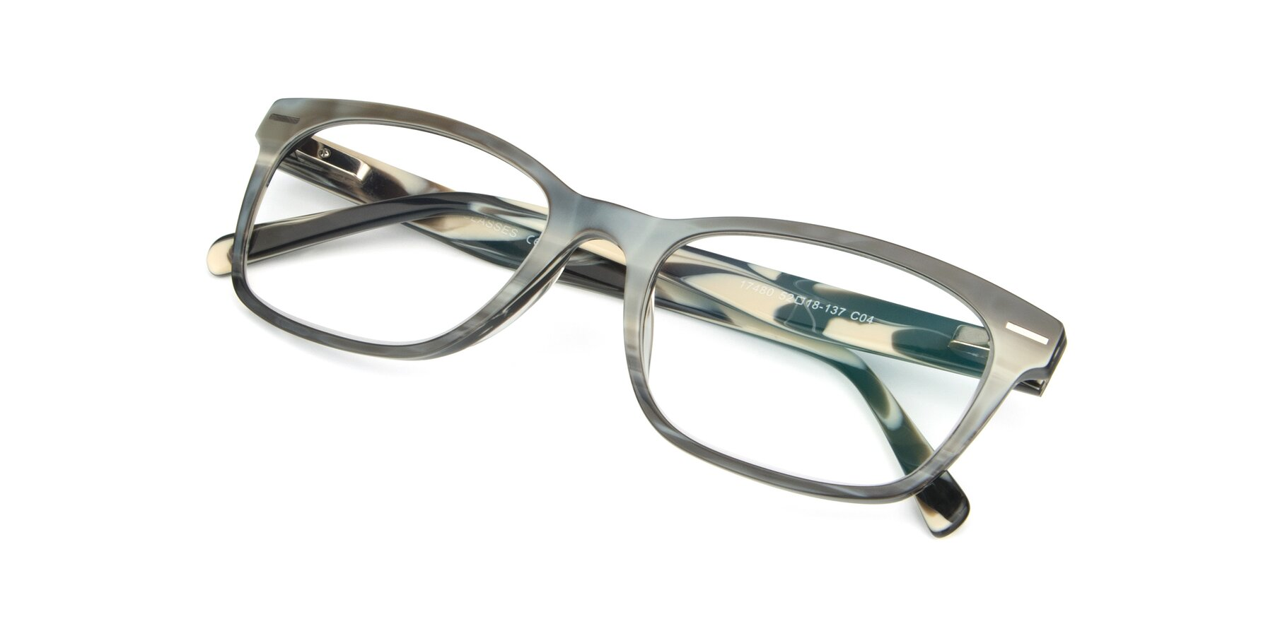 View of 17480 in Stripe Coffee with Clear Eyeglass Lenses
