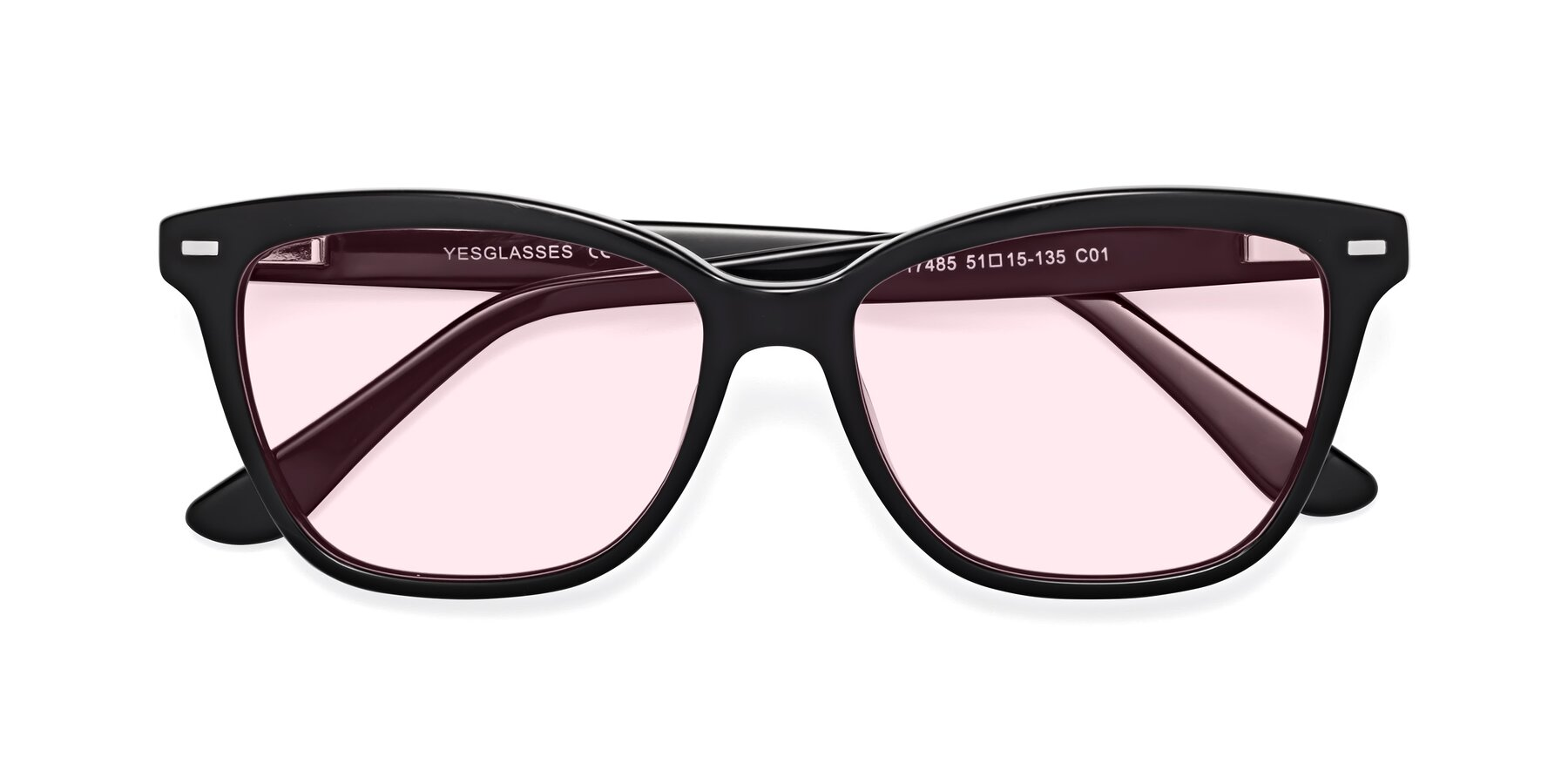 Folded Front of 17485 in Black with Light Pink Tinted Lenses