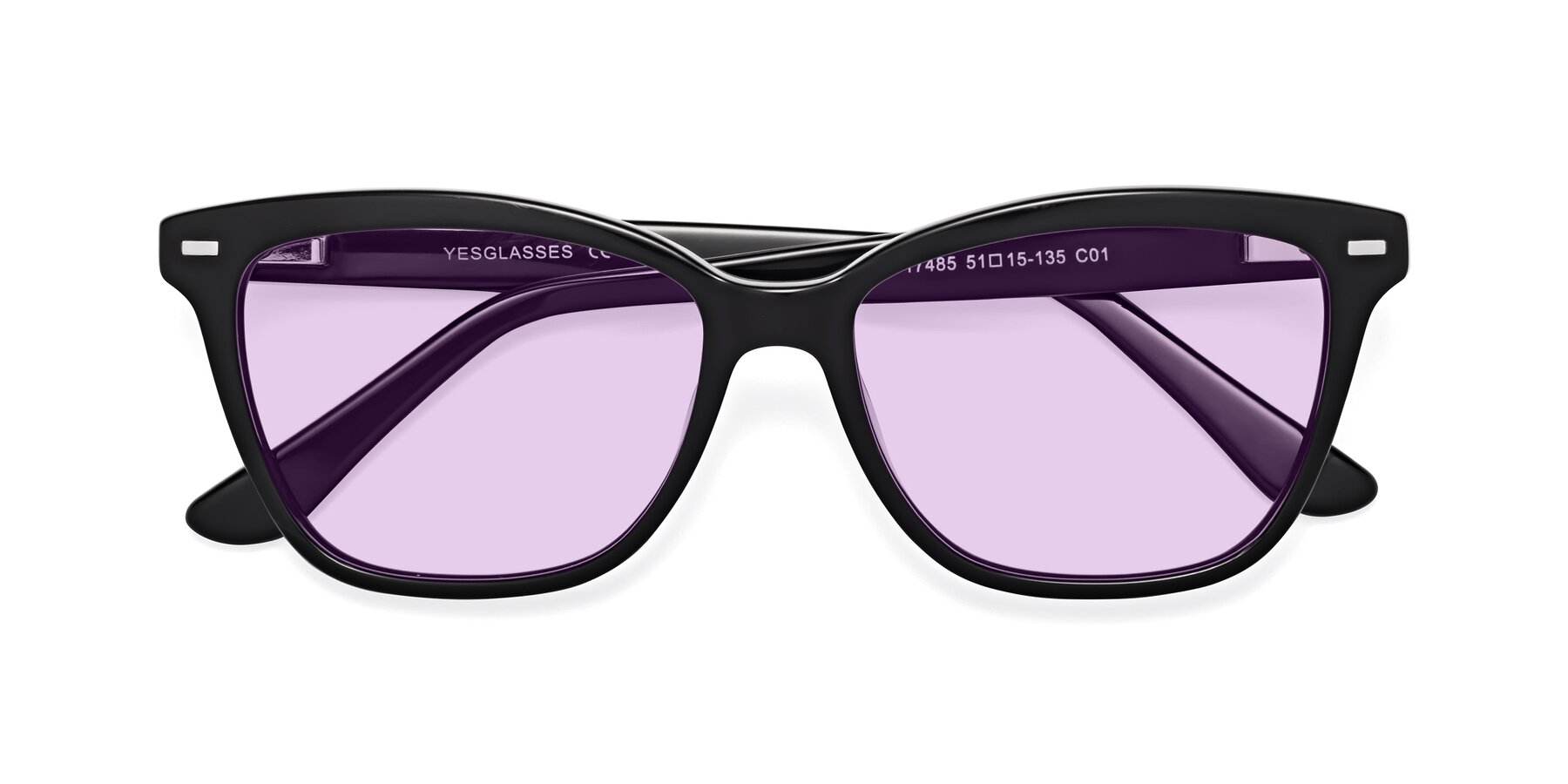Folded Front of 17485 in Black with Light Purple Tinted Lenses