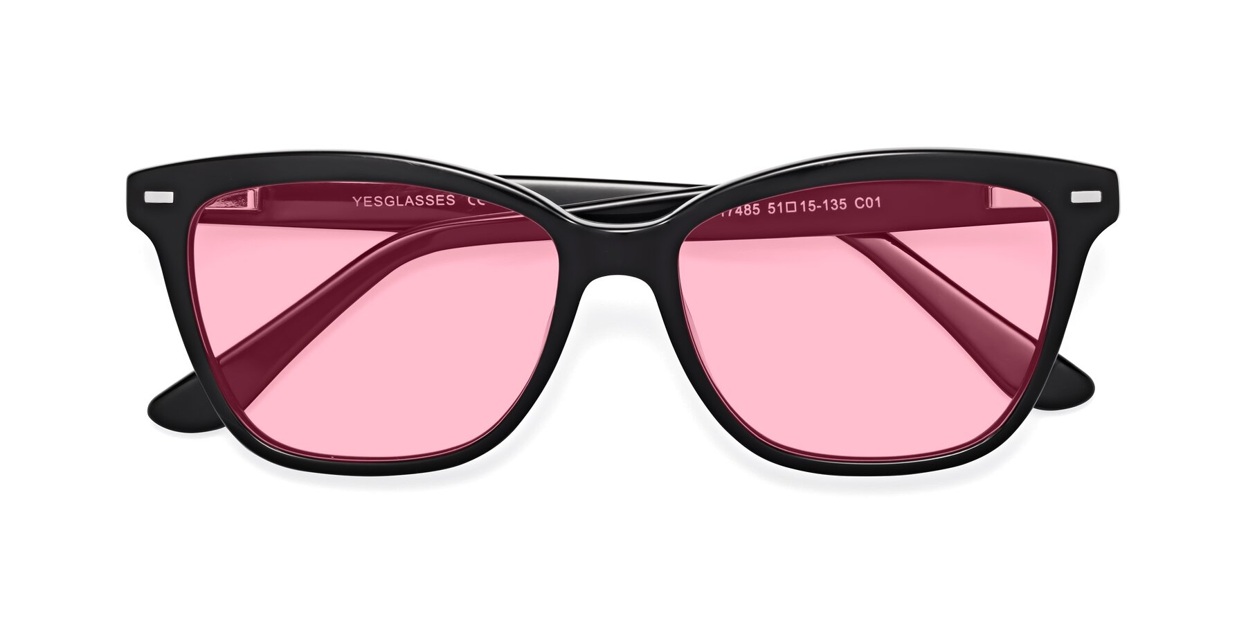 Folded Front of 17485 in Black with Medium Pink Tinted Lenses