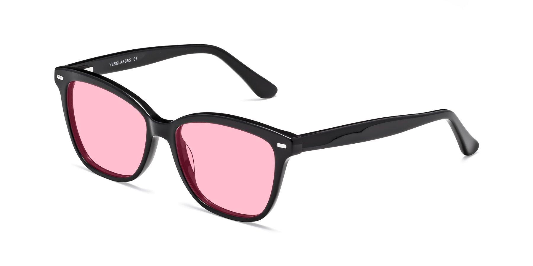 Angle of 17485 in Black with Medium Pink Tinted Lenses