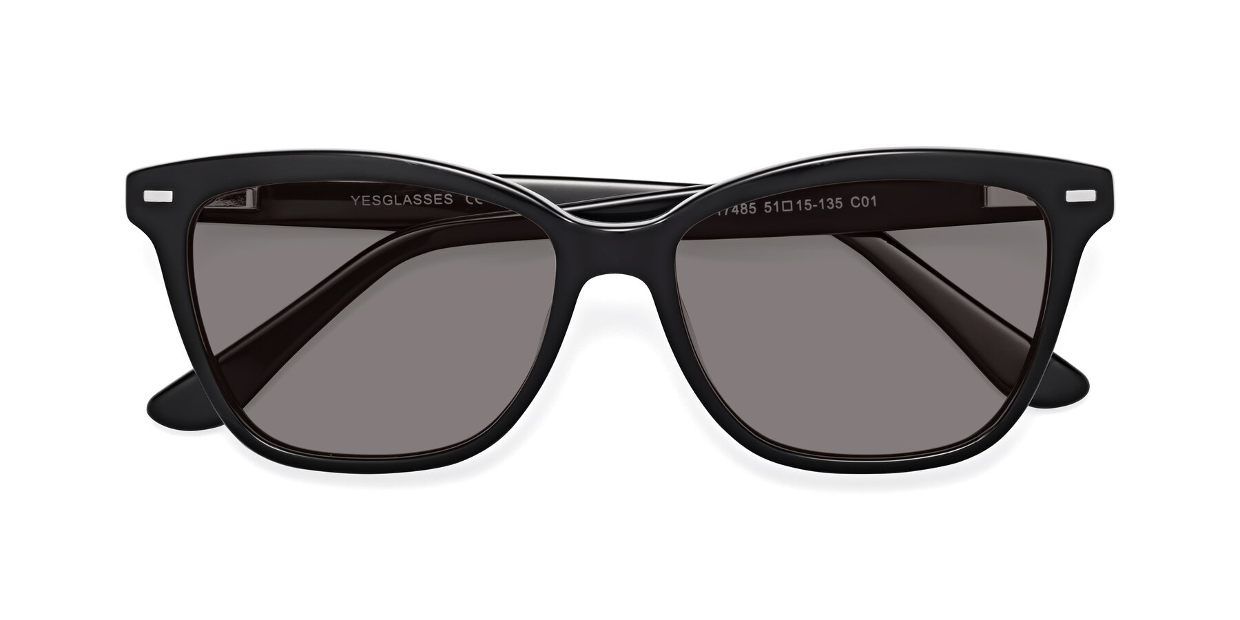 Folded Front of 17485 in Black with Medium Gray Tinted Lenses