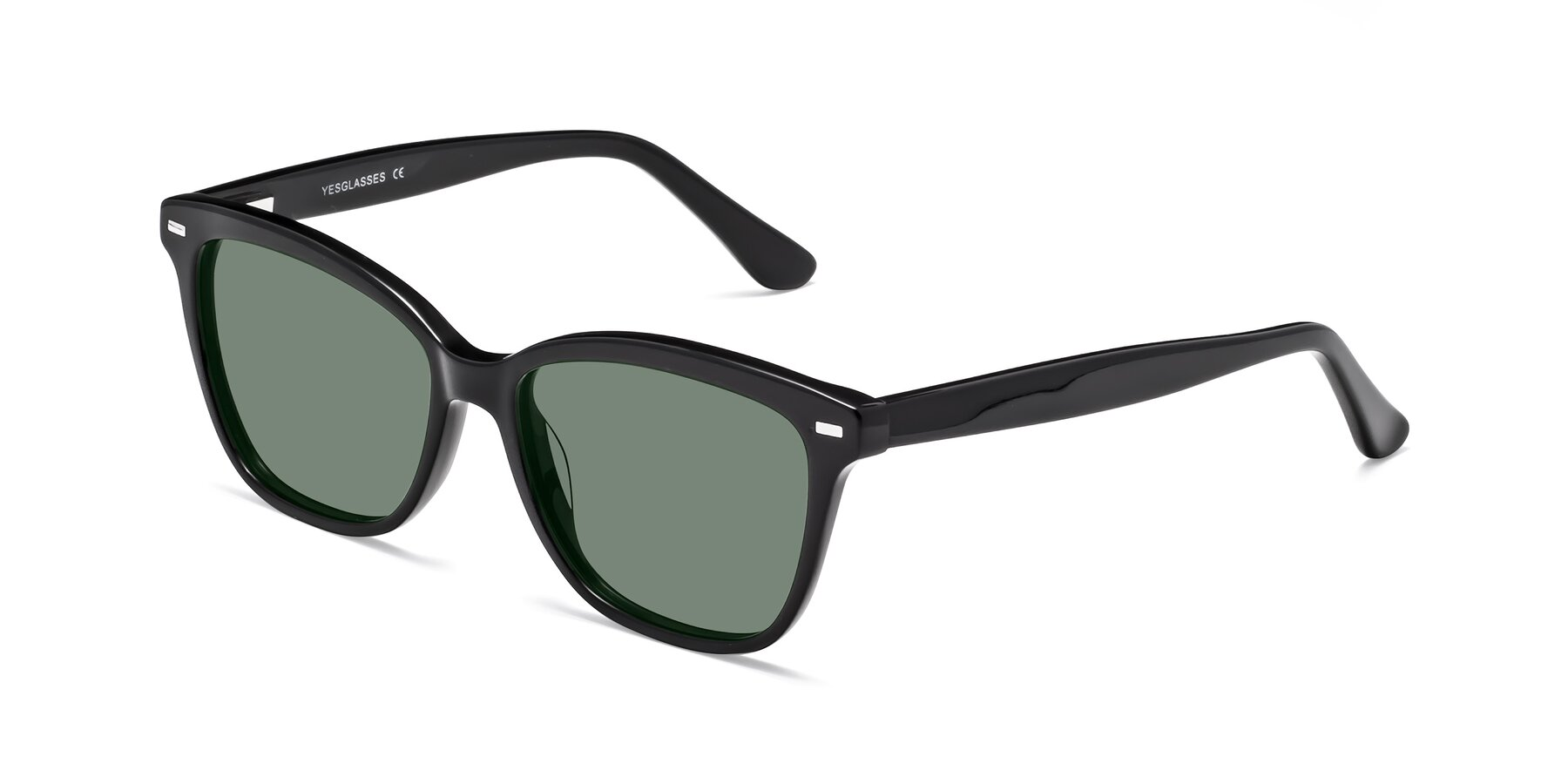 Angle of 17485 in Black with Medium Green Tinted Lenses