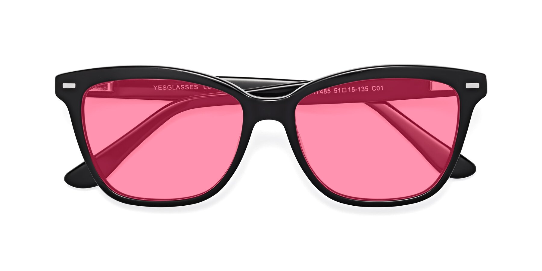 Folded Front of 17485 in Black with Pink Tinted Lenses