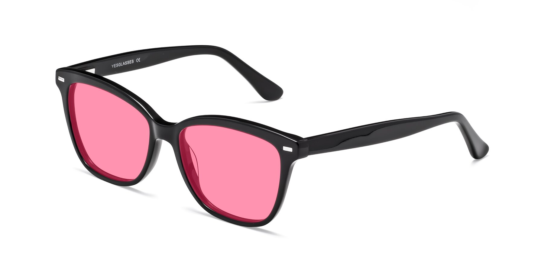 Angle of 17485 in Black with Pink Tinted Lenses