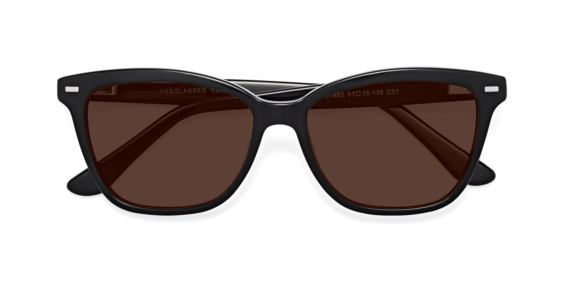 Folded Front of 17485 in Black with Brown Tinted Lenses