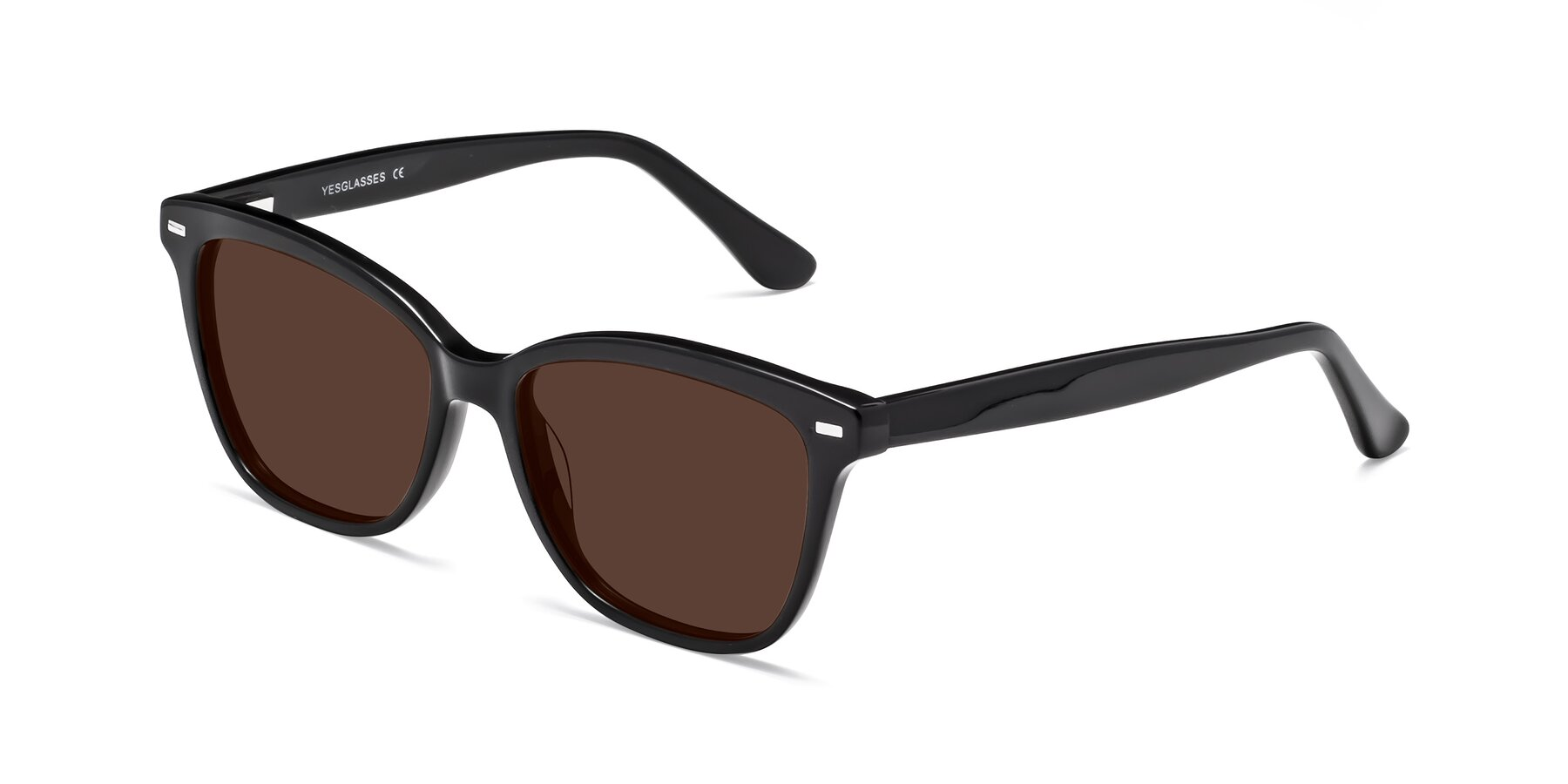 Angle of 17485 in Black with Brown Tinted Lenses