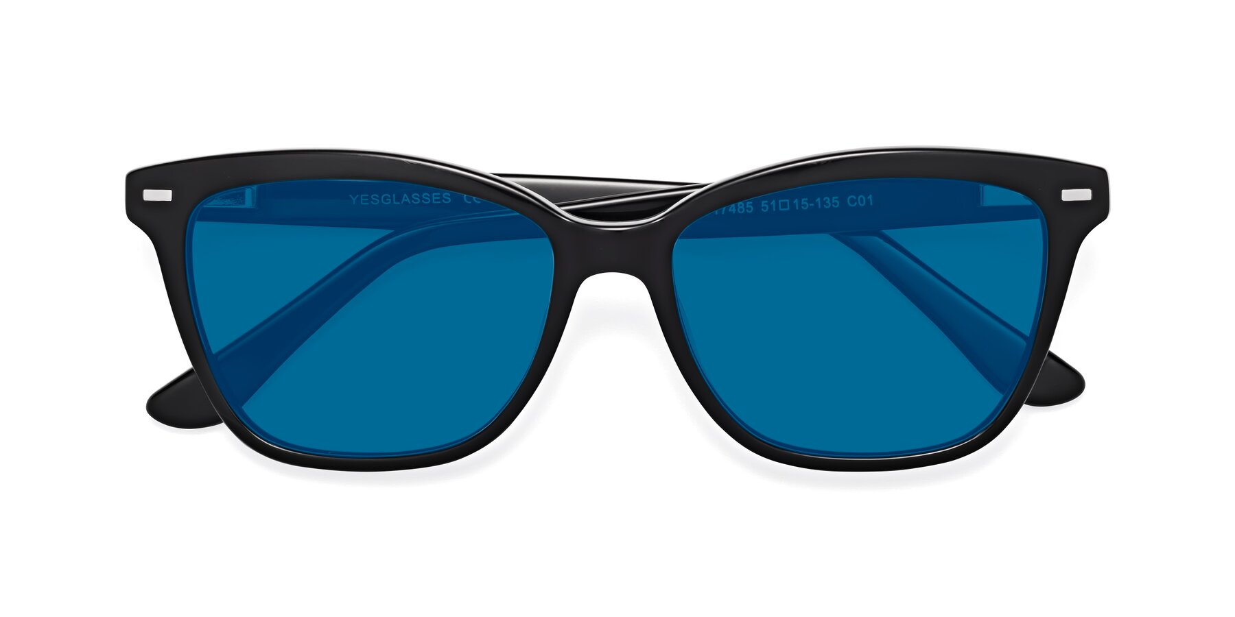 Folded Front of 17485 in Black with Blue Tinted Lenses