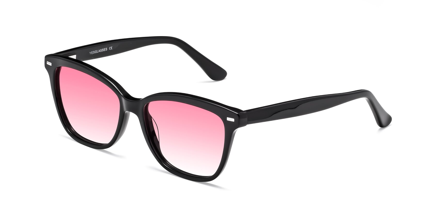 Angle of 17485 in Black with Pink Gradient Lenses