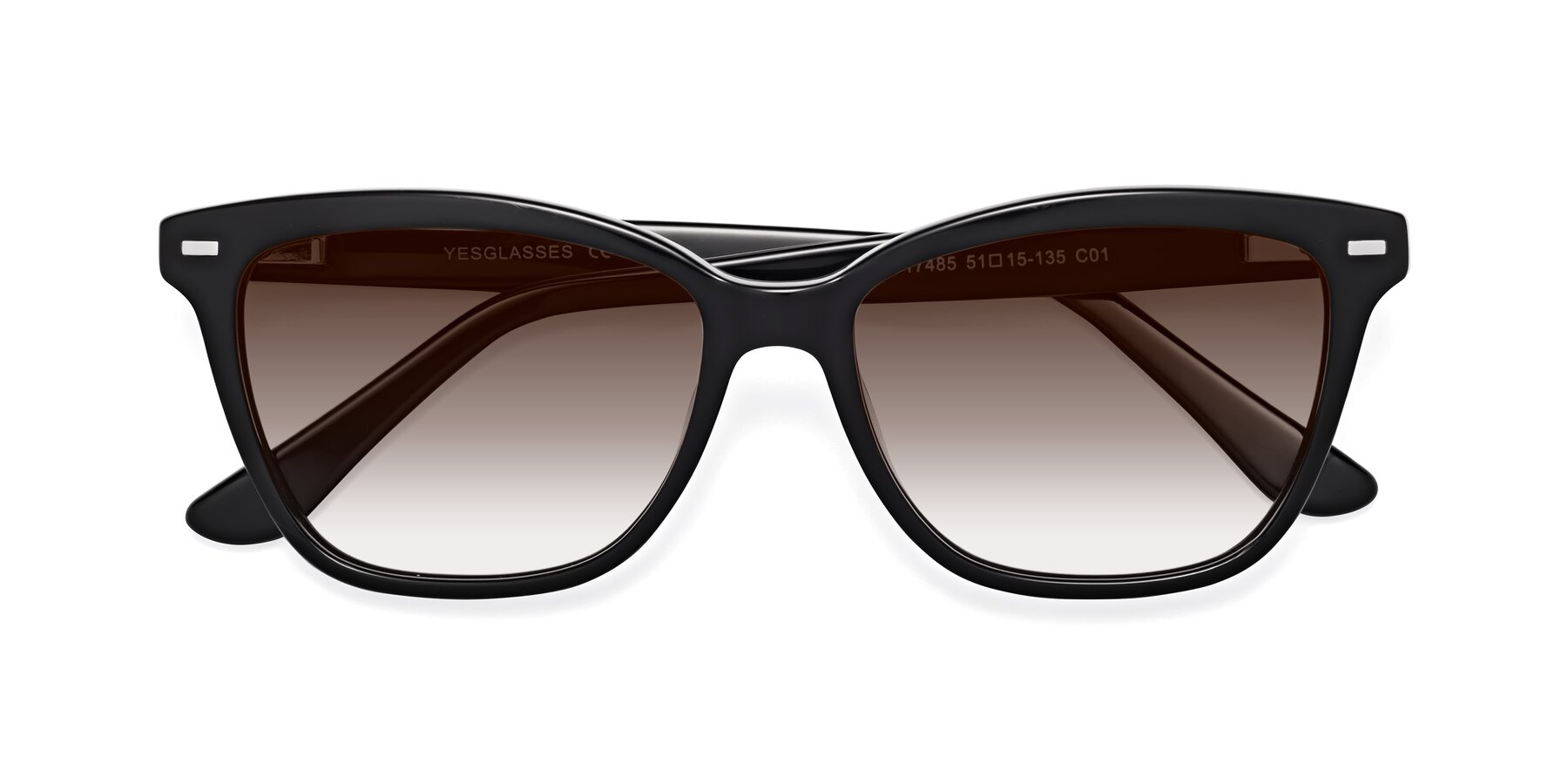 Folded Front of 17485 in Black with Brown Gradient Lenses