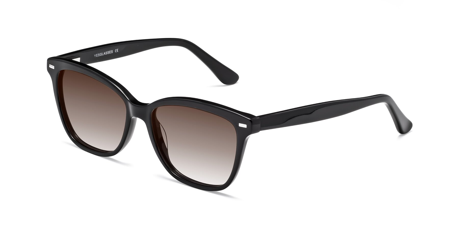 Angle of 17485 in Black with Brown Gradient Lenses