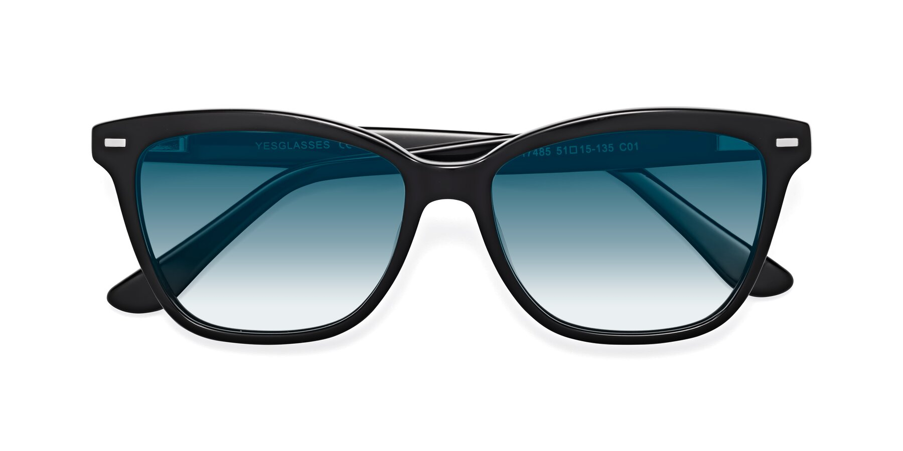 Folded Front of 17485 in Black with Blue Gradient Lenses