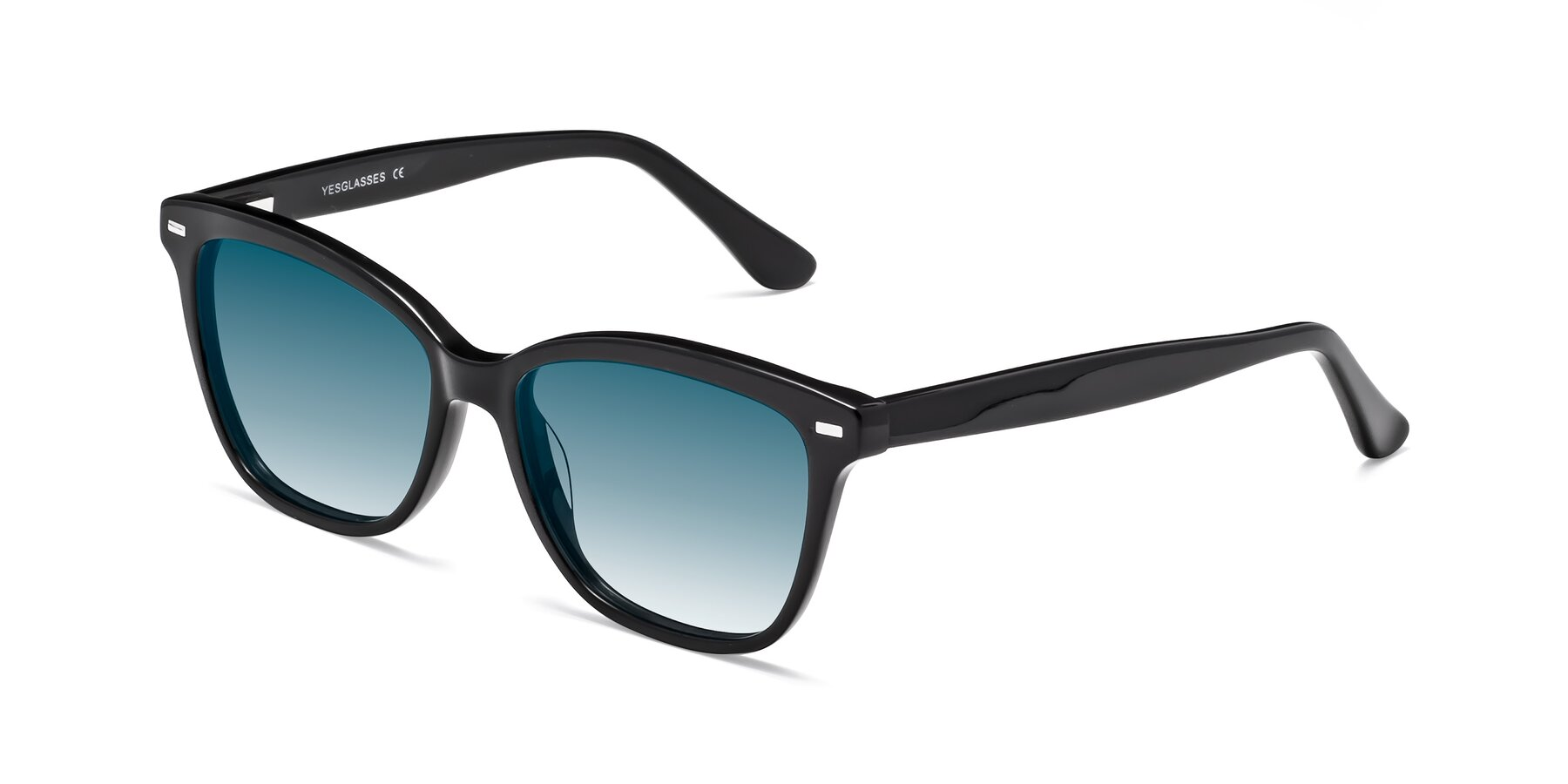 Angle of 17485 in Black with Blue Gradient Lenses