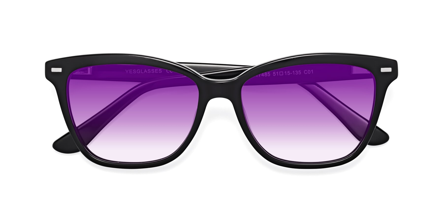 Folded Front of 17485 in Black with Purple Gradient Lenses