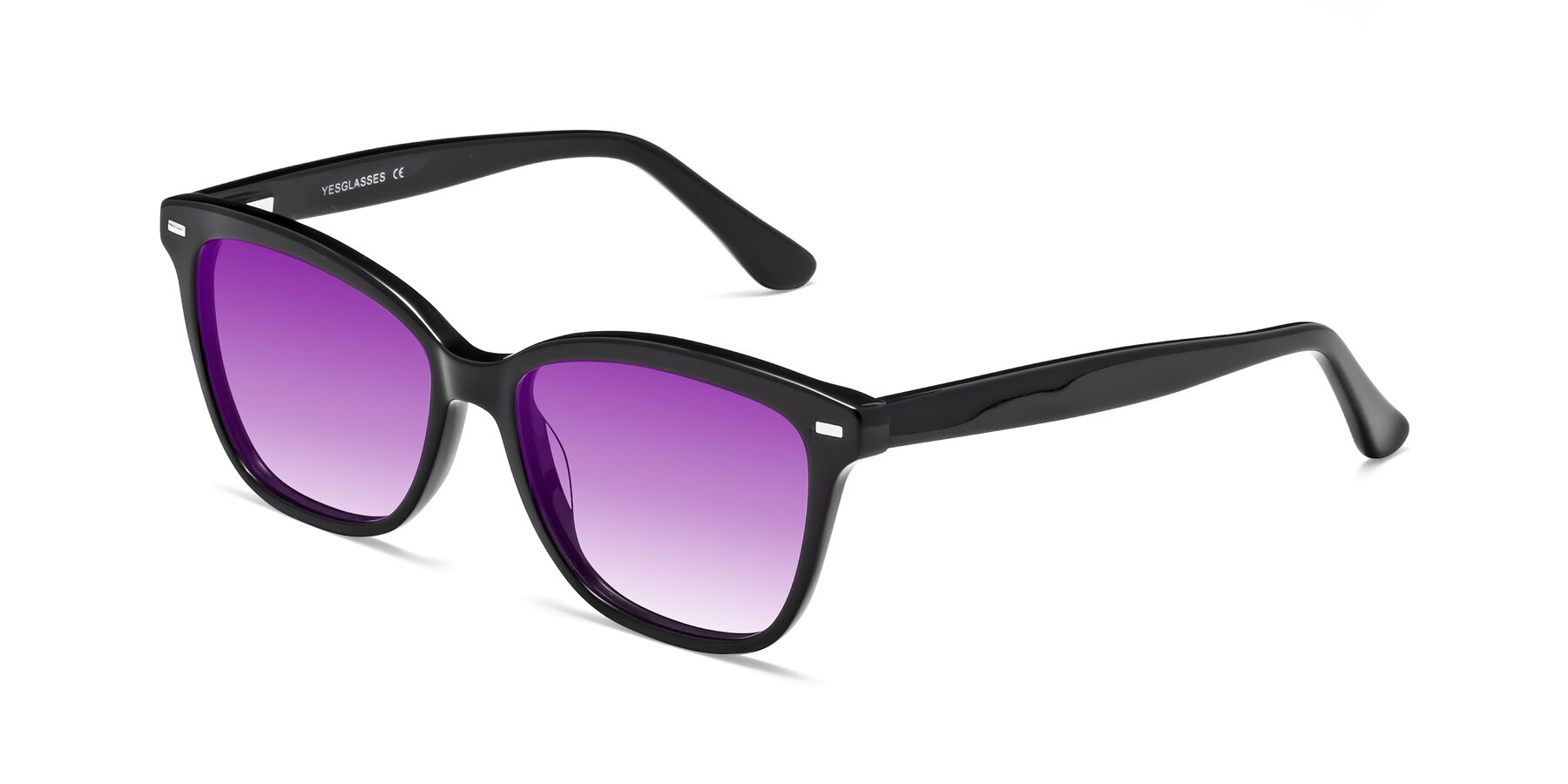 Angle of 17485 in Black with Purple Gradient Lenses
