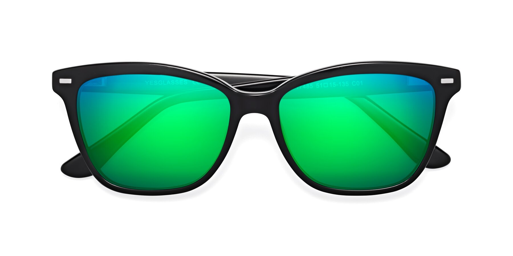 Folded Front of 17485 in Black with Green Mirrored Lenses
