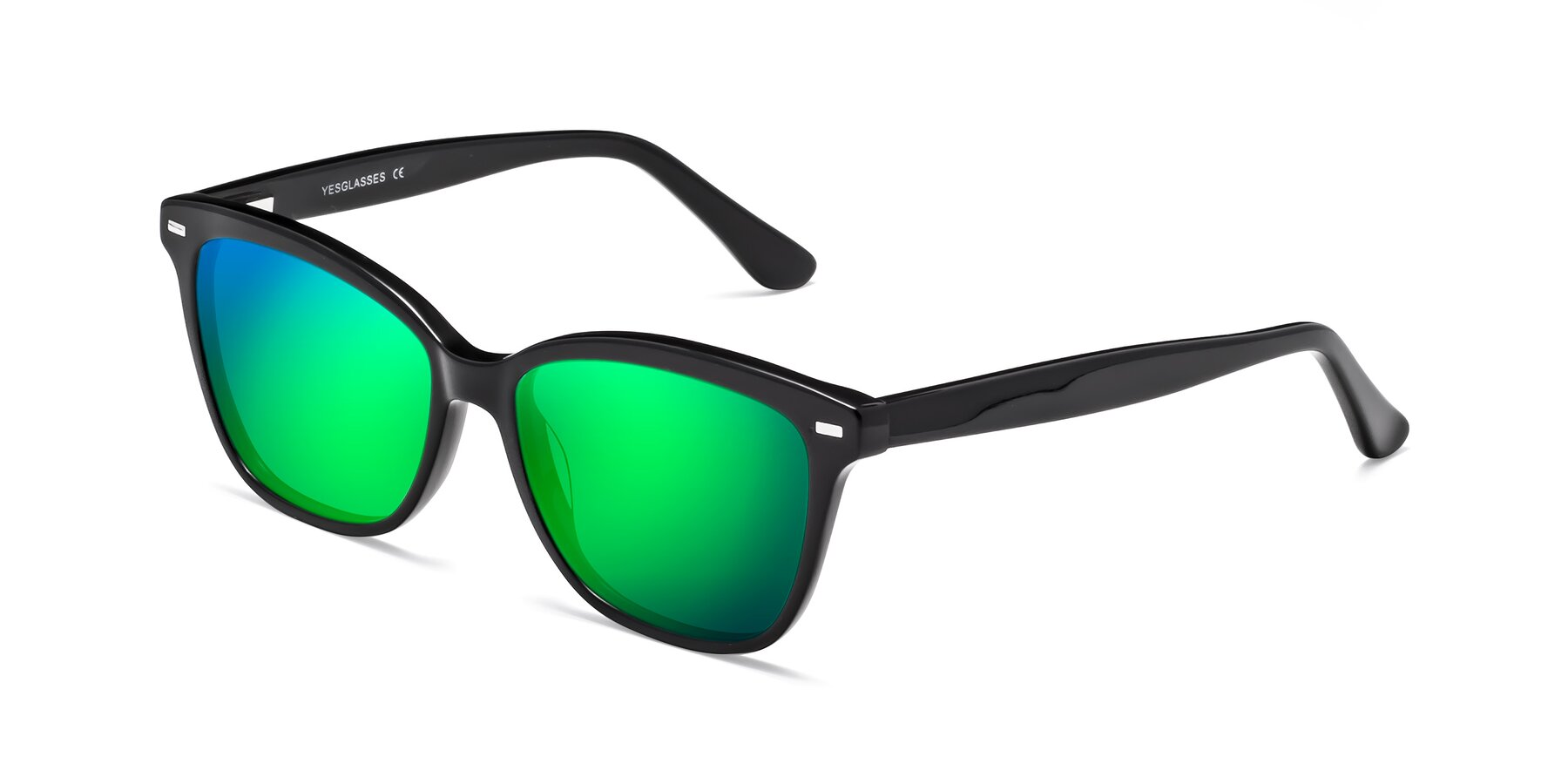 Angle of 17485 in Black with Green Mirrored Lenses