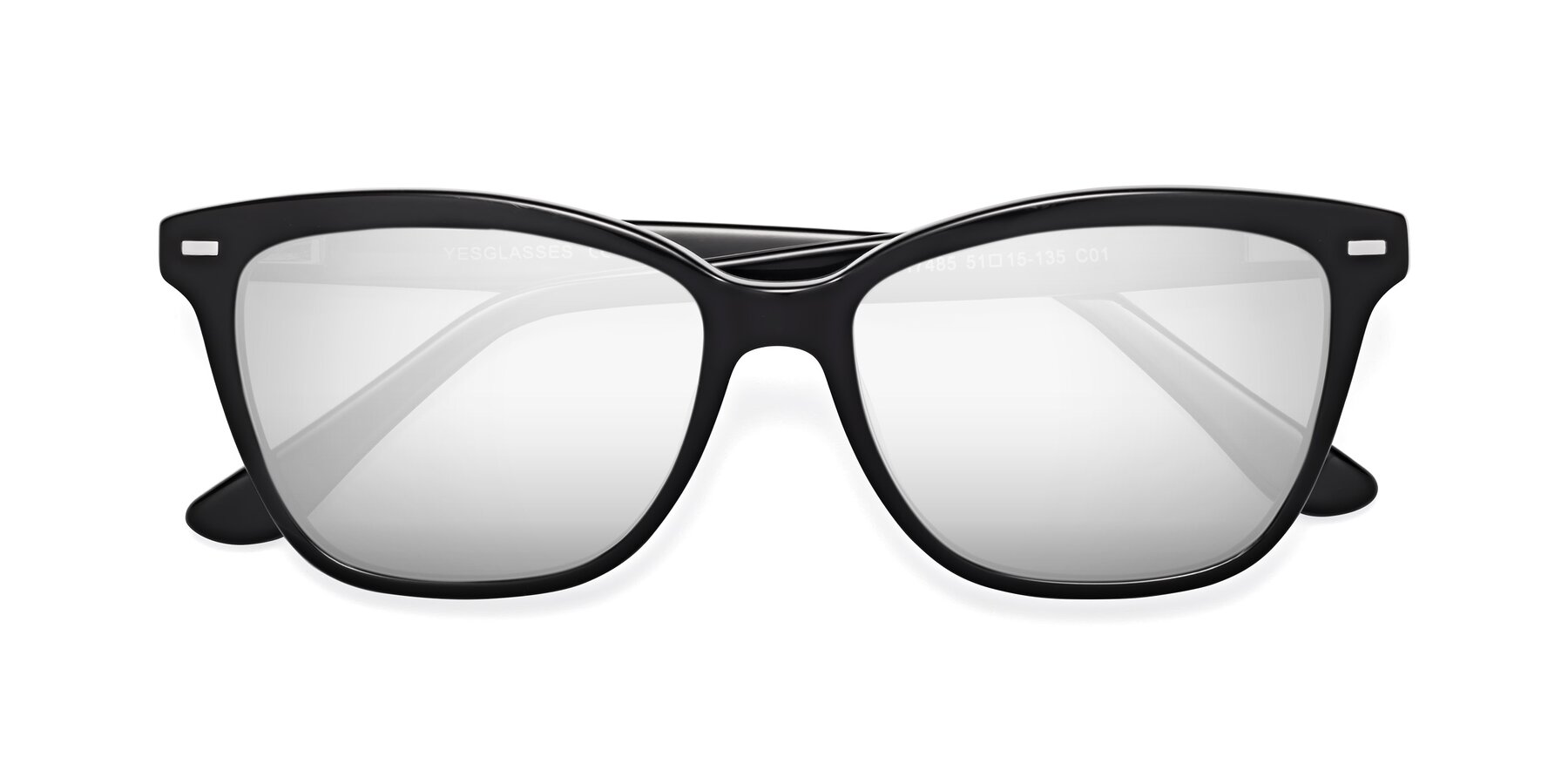 Folded Front of 17485 in Black with Silver Mirrored Lenses