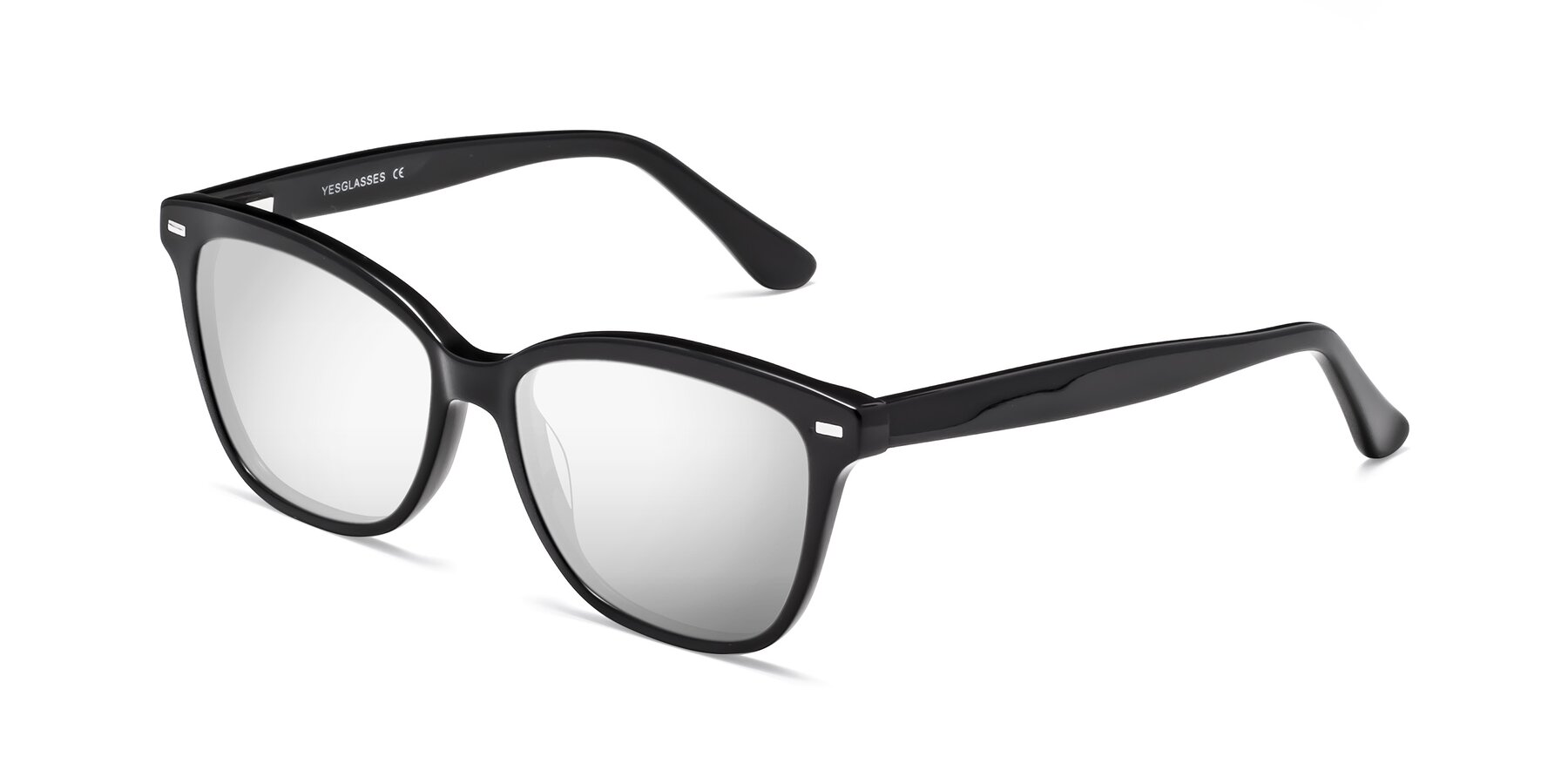 Angle of 17485 in Black with Silver Mirrored Lenses