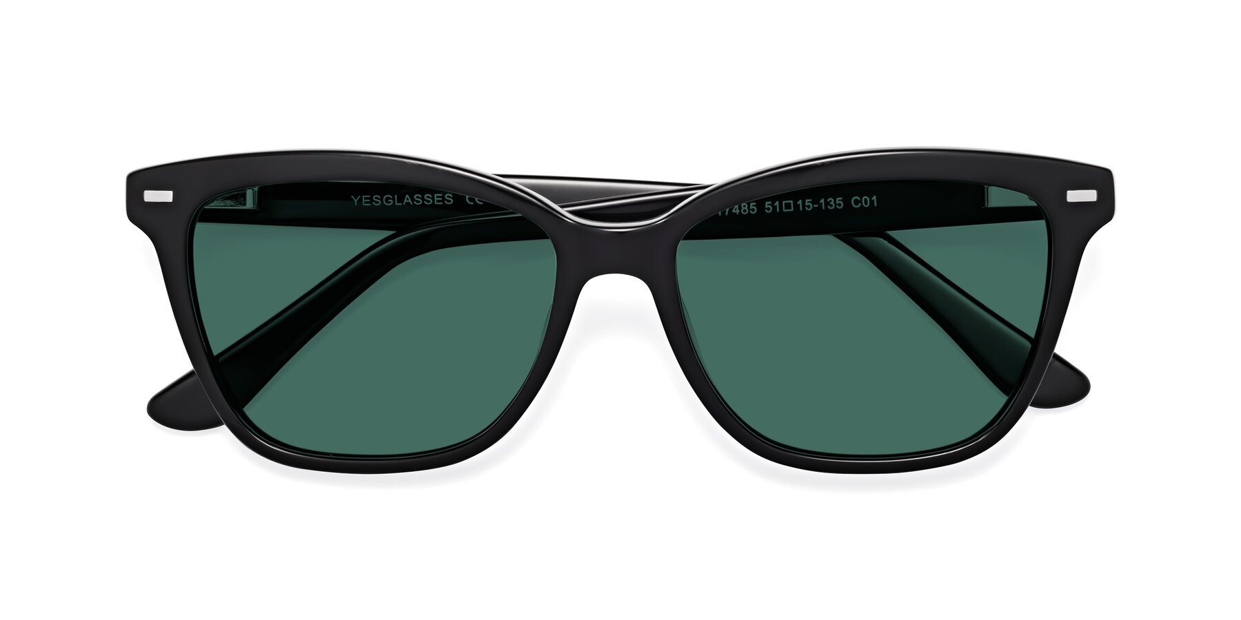 Folded Front of 17485 in Black with Green Polarized Lenses