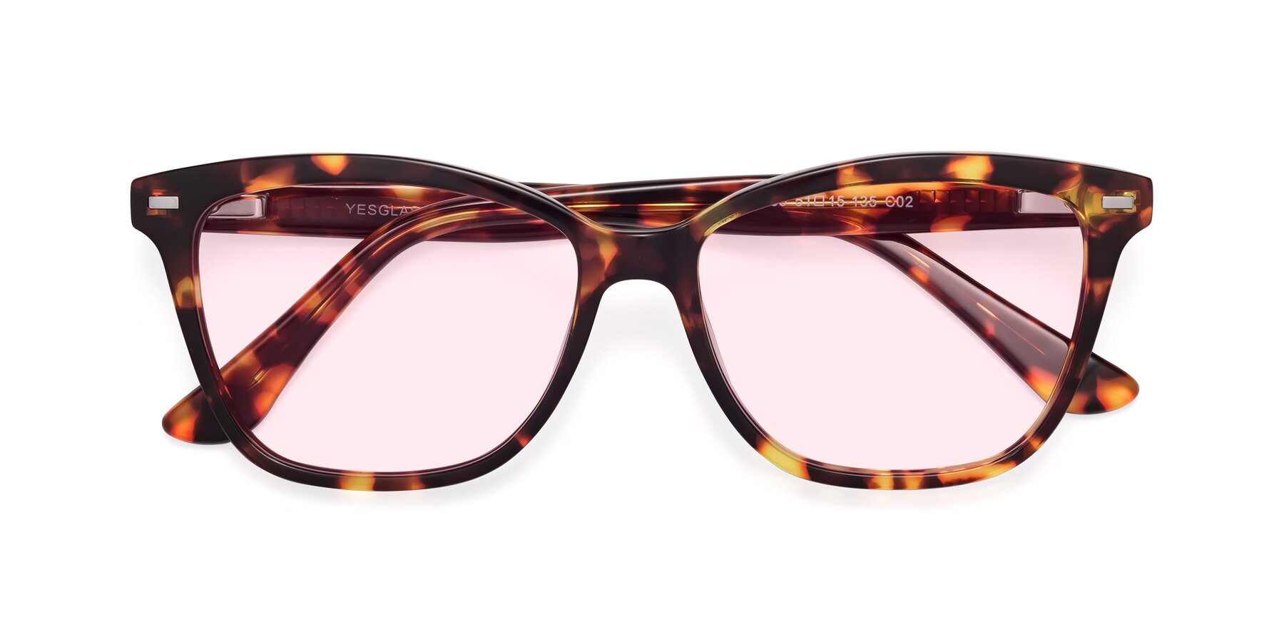 Folded Front of 17485 in Tortoise with Light Pink Tinted Lenses
