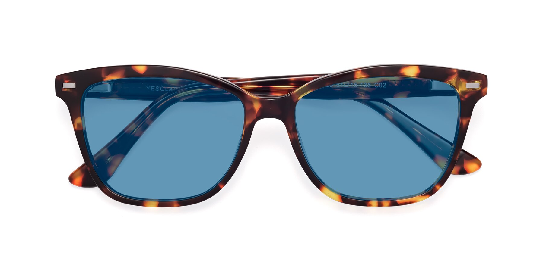 Folded Front of 17485 in Tortoise with Medium Blue Tinted Lenses