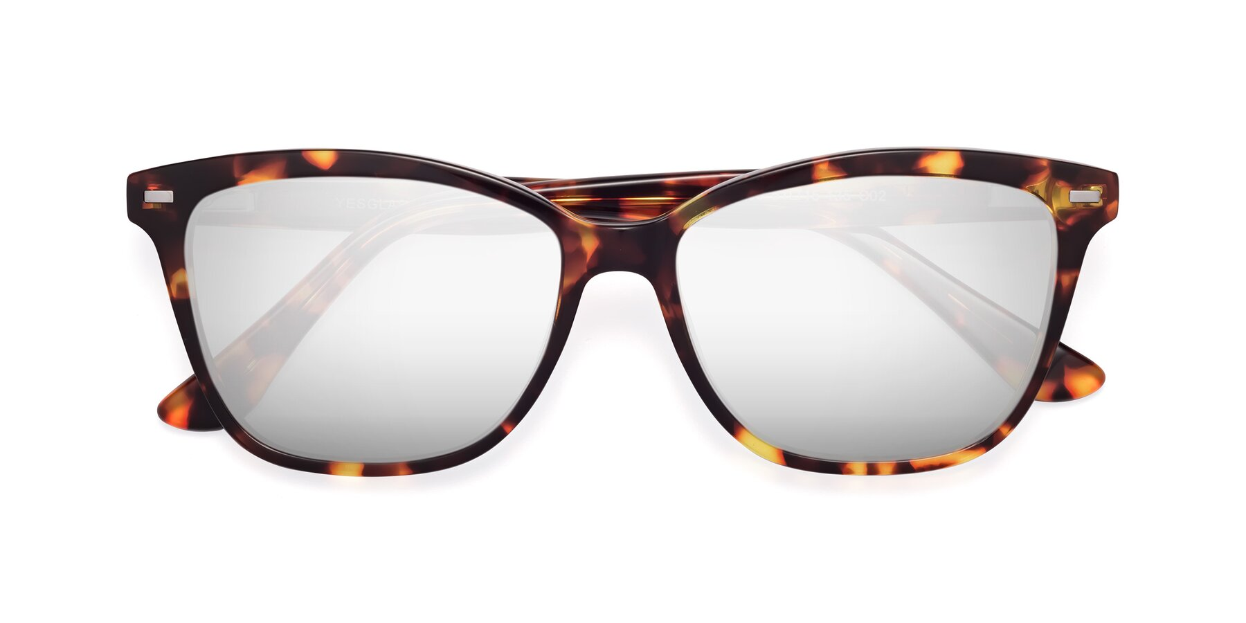 Folded Front of 17485 in Tortoise with Silver Mirrored Lenses