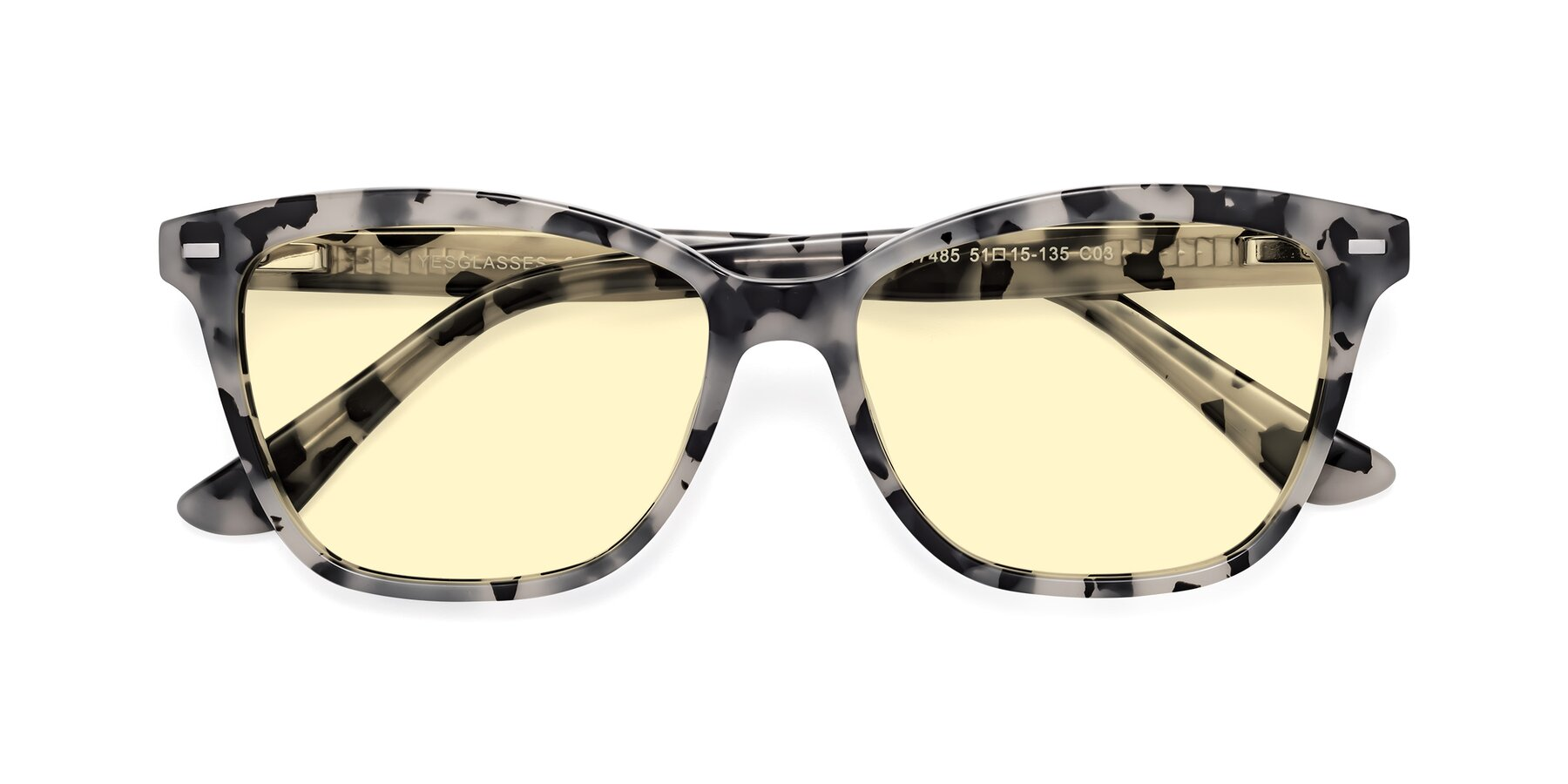 Folded Front of 17485 in Honey Tortoise with Light Yellow Tinted Lenses