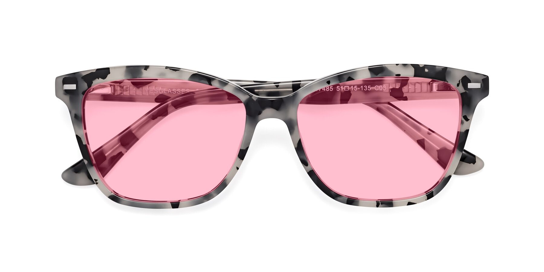 Folded Front of 17485 in Honey Tortoise with Medium Pink Tinted Lenses