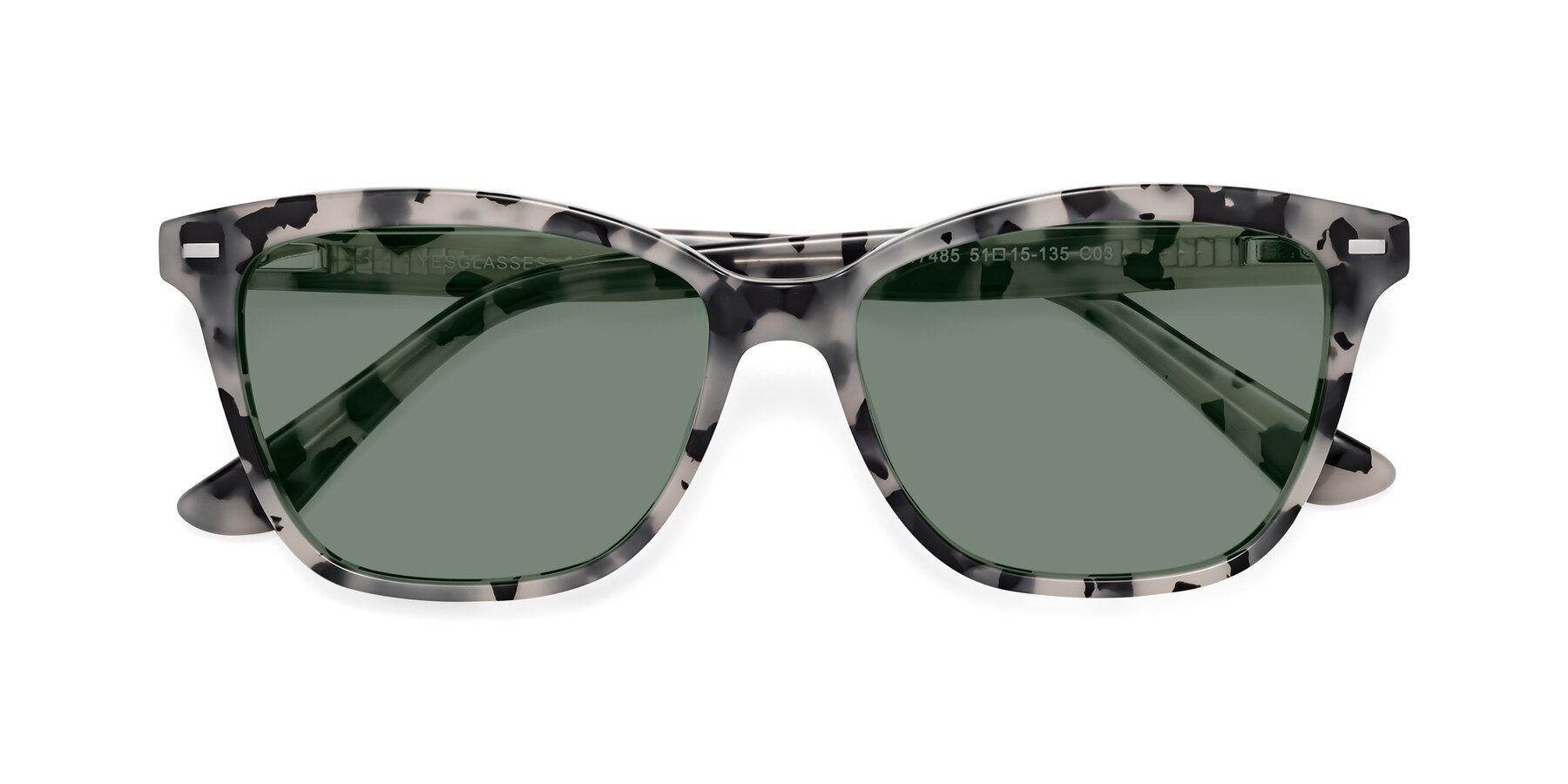 Folded Front of 17485 in Honey Tortoise with Medium Green Tinted Lenses