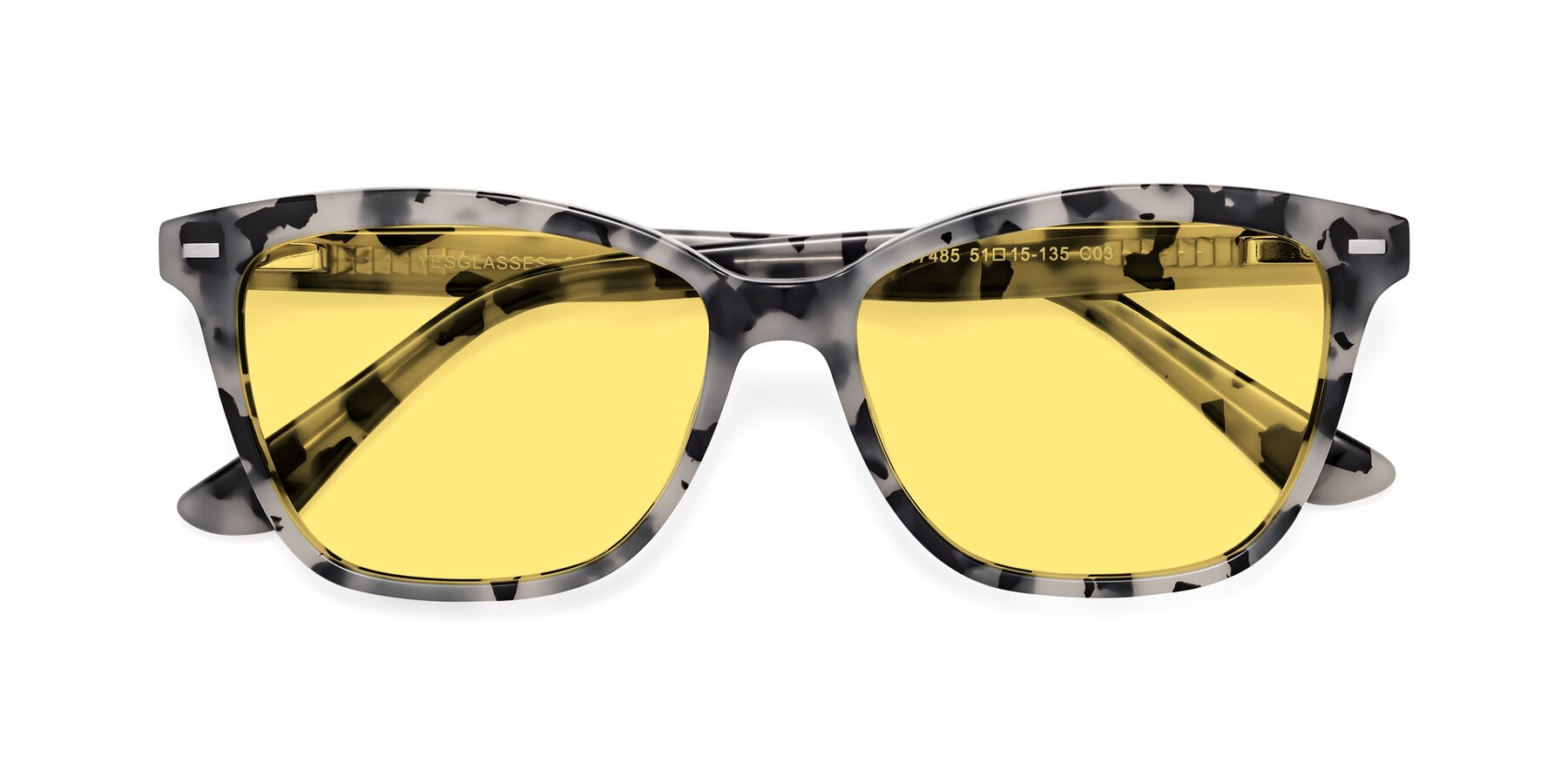 Folded Front of 17485 in Honey Tortoise with Medium Yellow Tinted Lenses