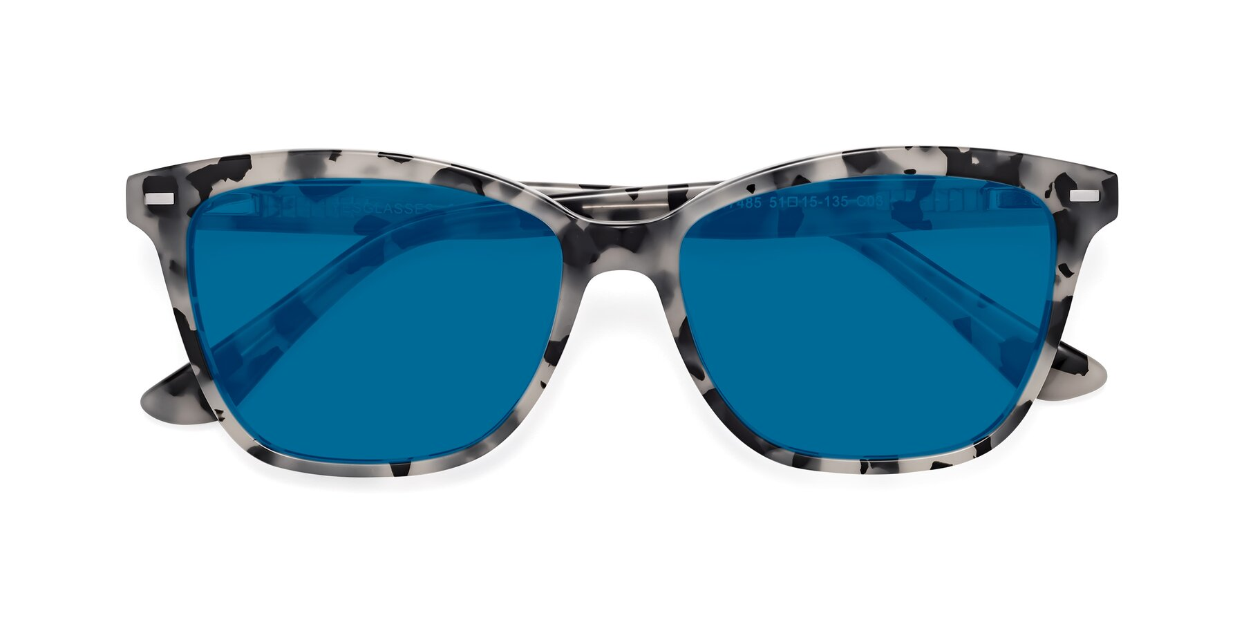 Folded Front of 17485 in Honey Tortoise with Blue Tinted Lenses