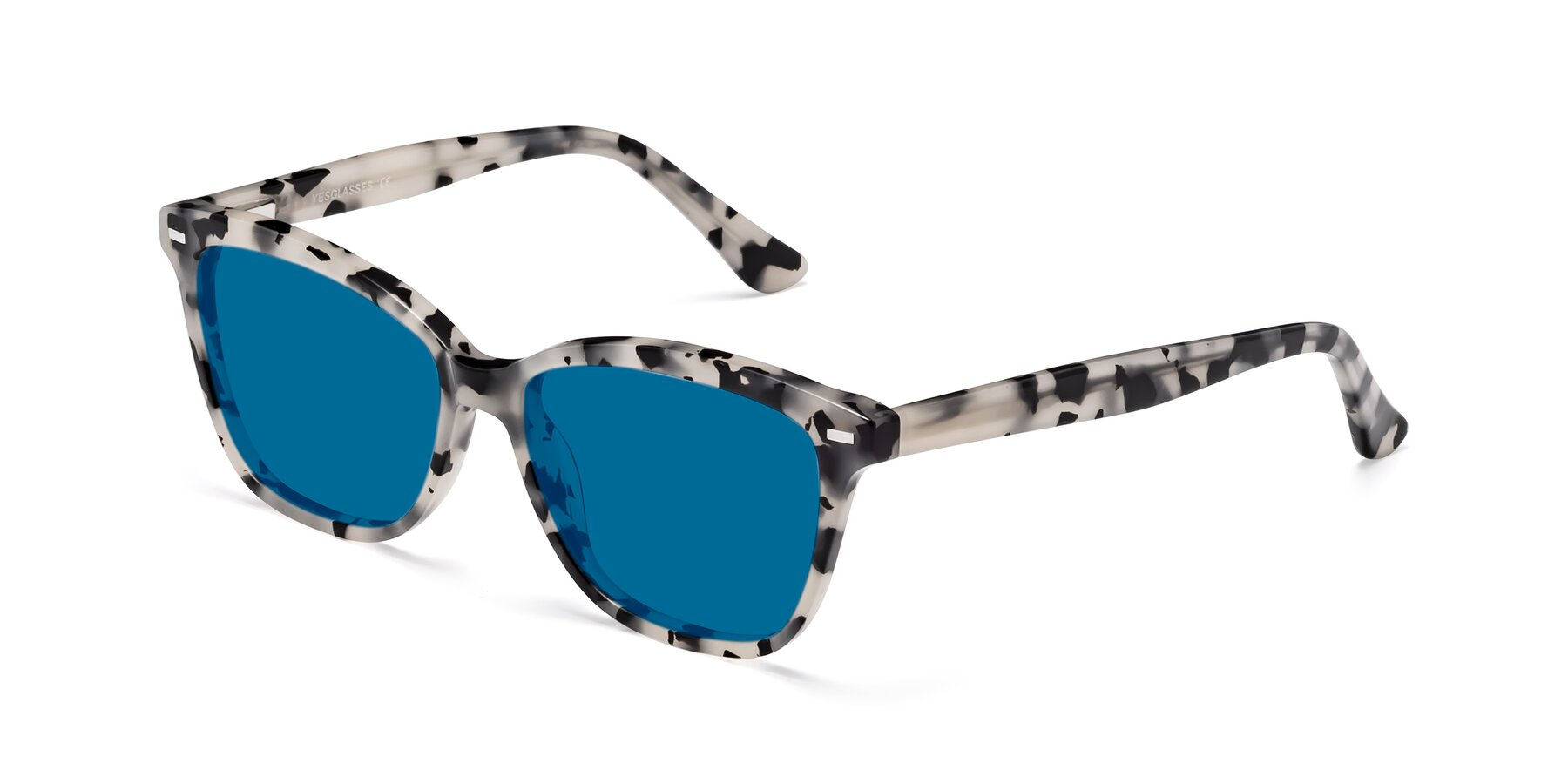 Angle of 17485 in Honey Tortoise with Blue Tinted Lenses