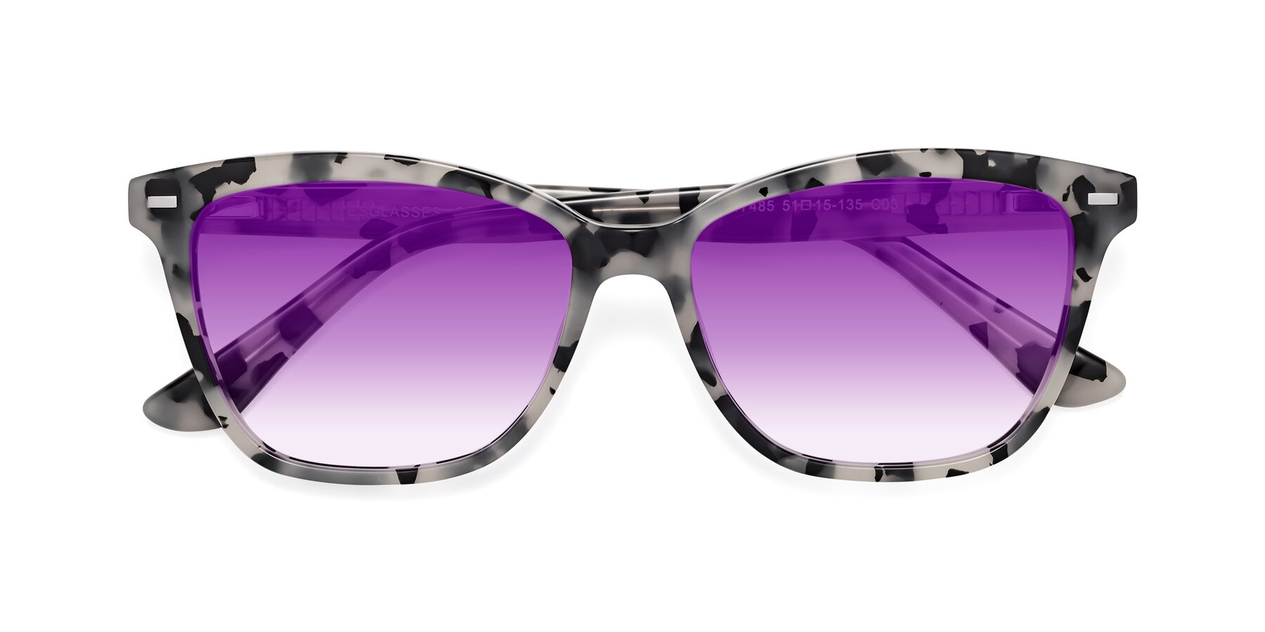 Folded Front of 17485 in Honey Tortoise with Purple Gradient Lenses
