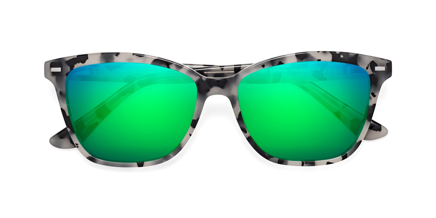 Folded Front of 17485 in Honey Tortoise with Green Mirrored Lenses