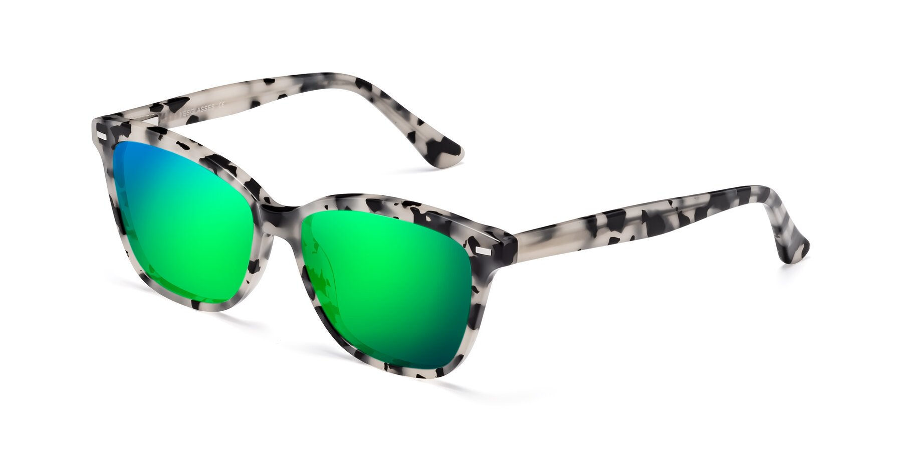 Angle of 17485 in Honey Tortoise with Green Mirrored Lenses