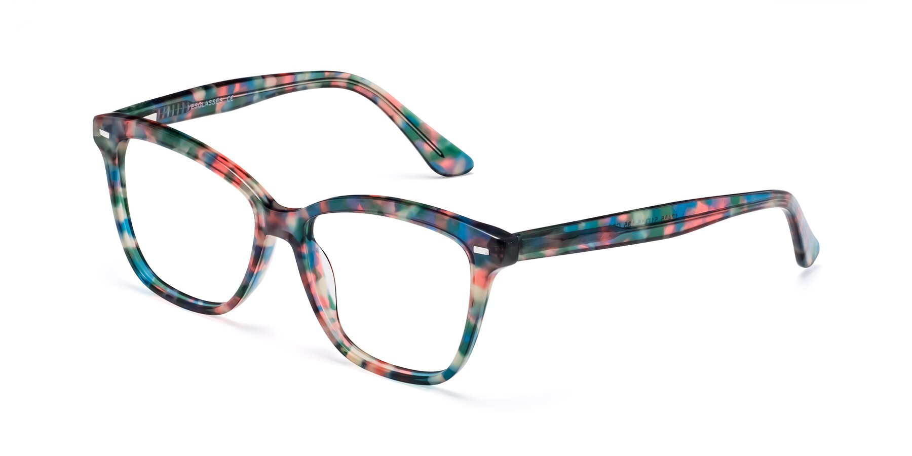 Angle of 17485 in Floral Tortoise with Clear Eyeglass Lenses