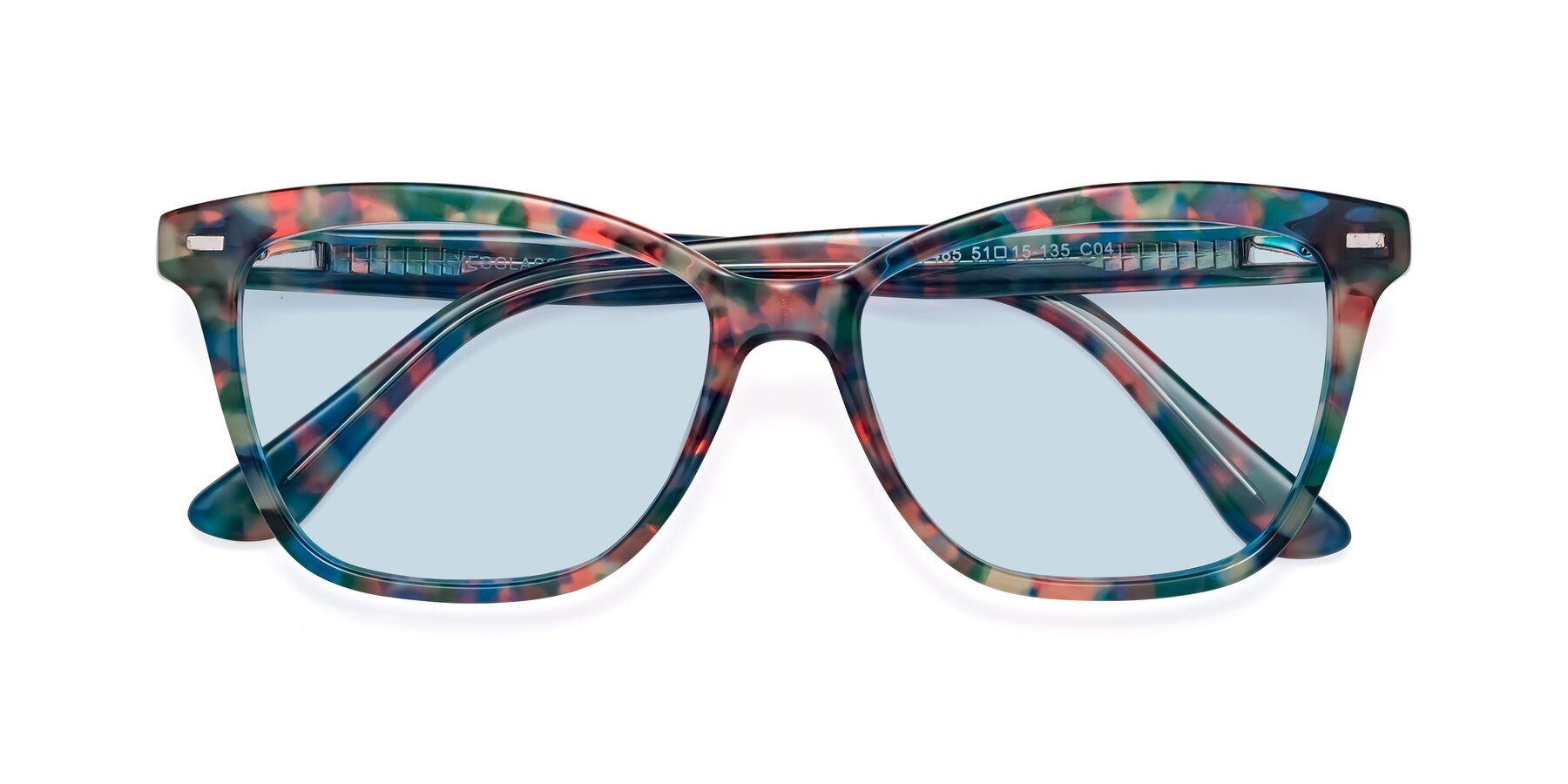 Folded Front of 17485 in Floral Tortoise with Light Blue Tinted Lenses