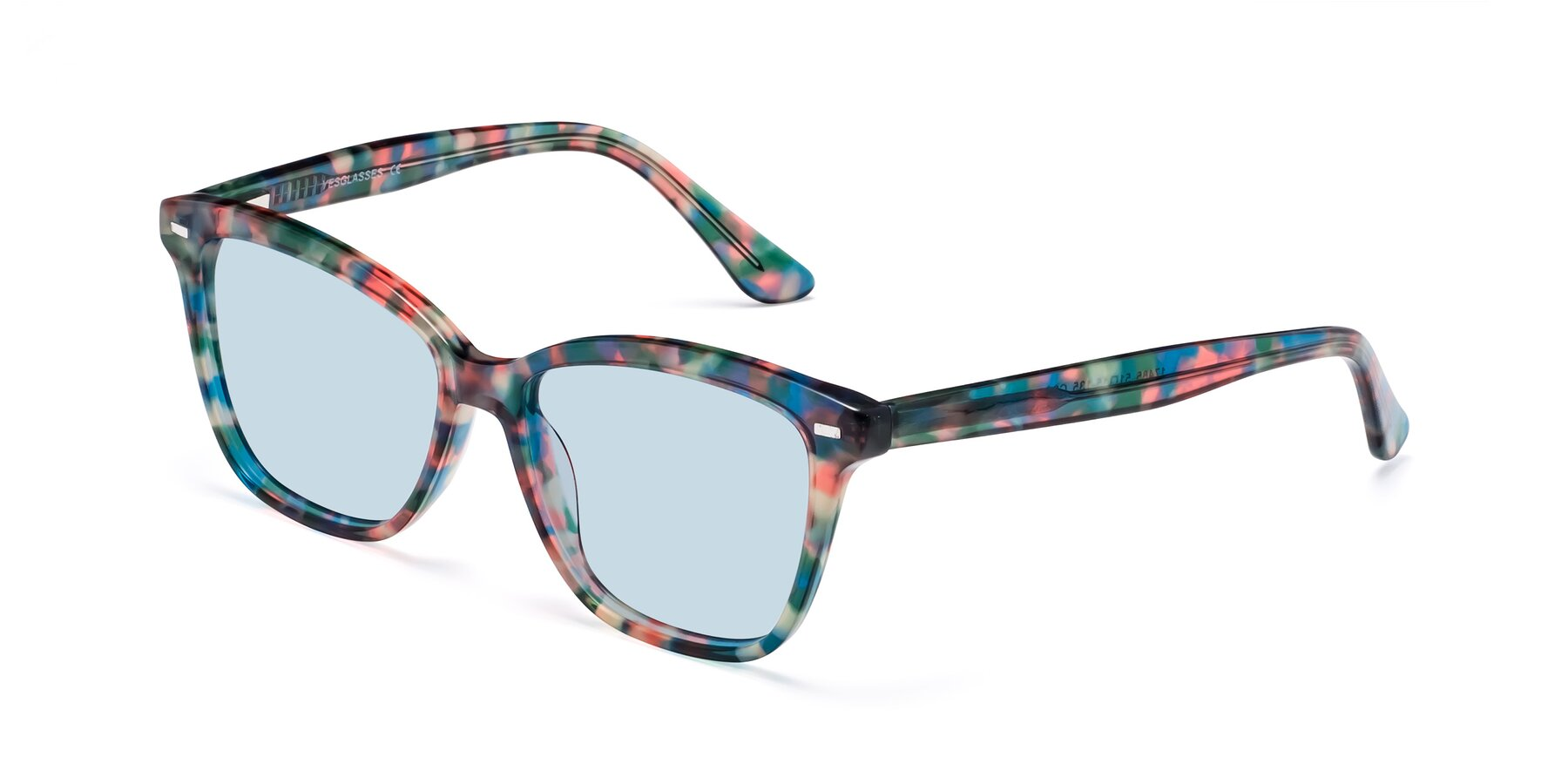 Angle of 17485 in Floral Tortoise with Light Blue Tinted Lenses