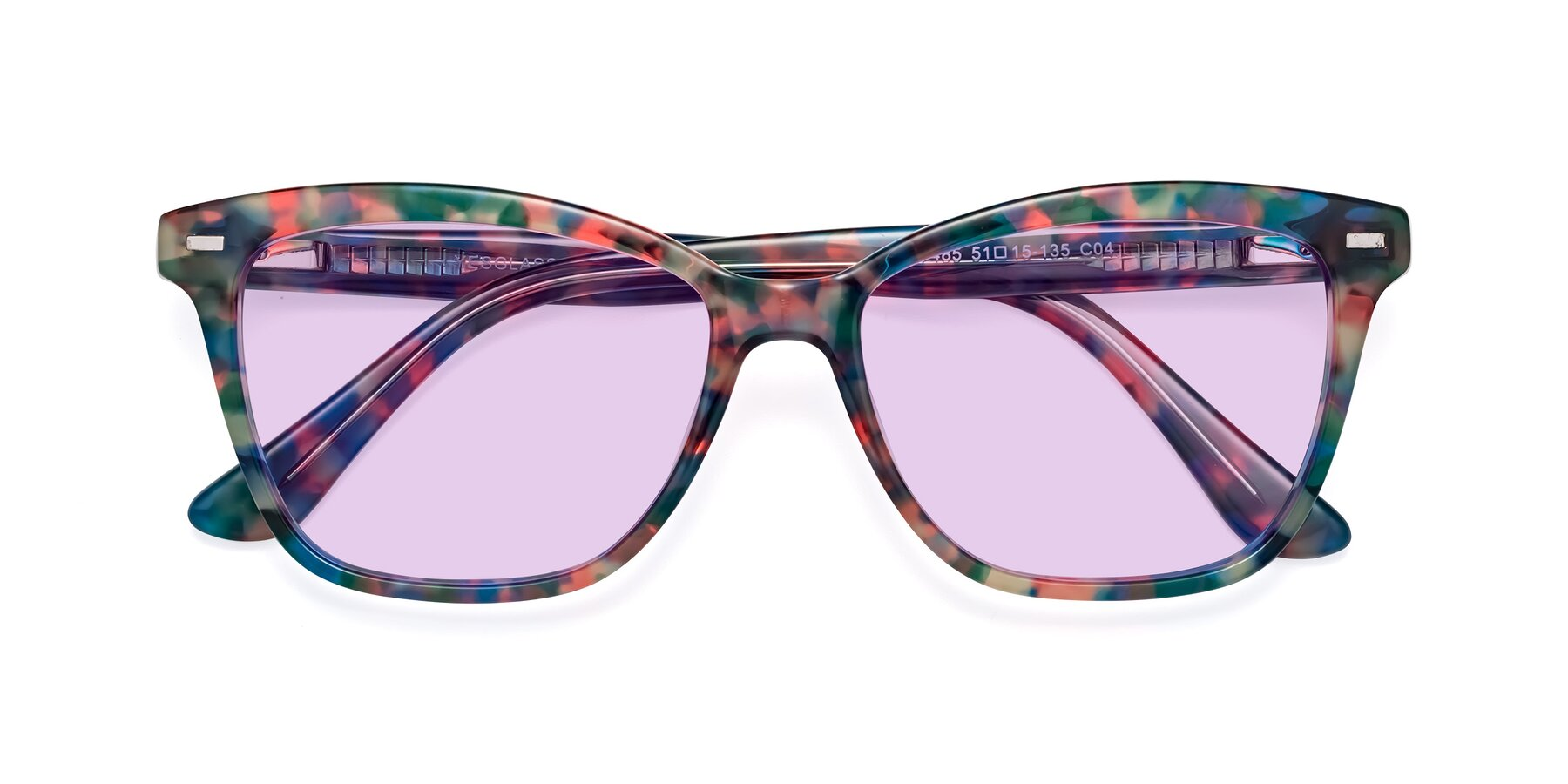 Folded Front of 17485 in Floral Tortoise with Light Purple Tinted Lenses