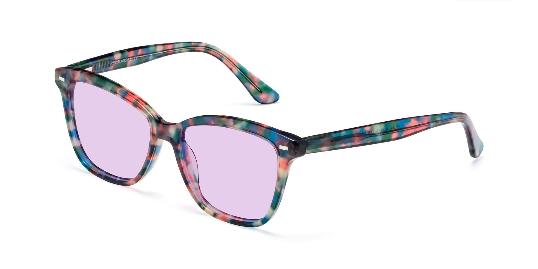Angle of 17485 in Floral Tortoise with Light Purple Tinted Lenses