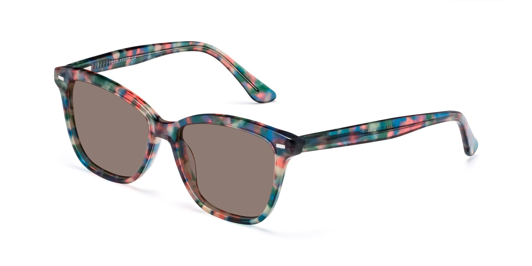 Angle of 17485 in Floral Tortoise with Medium Brown Tinted Lenses