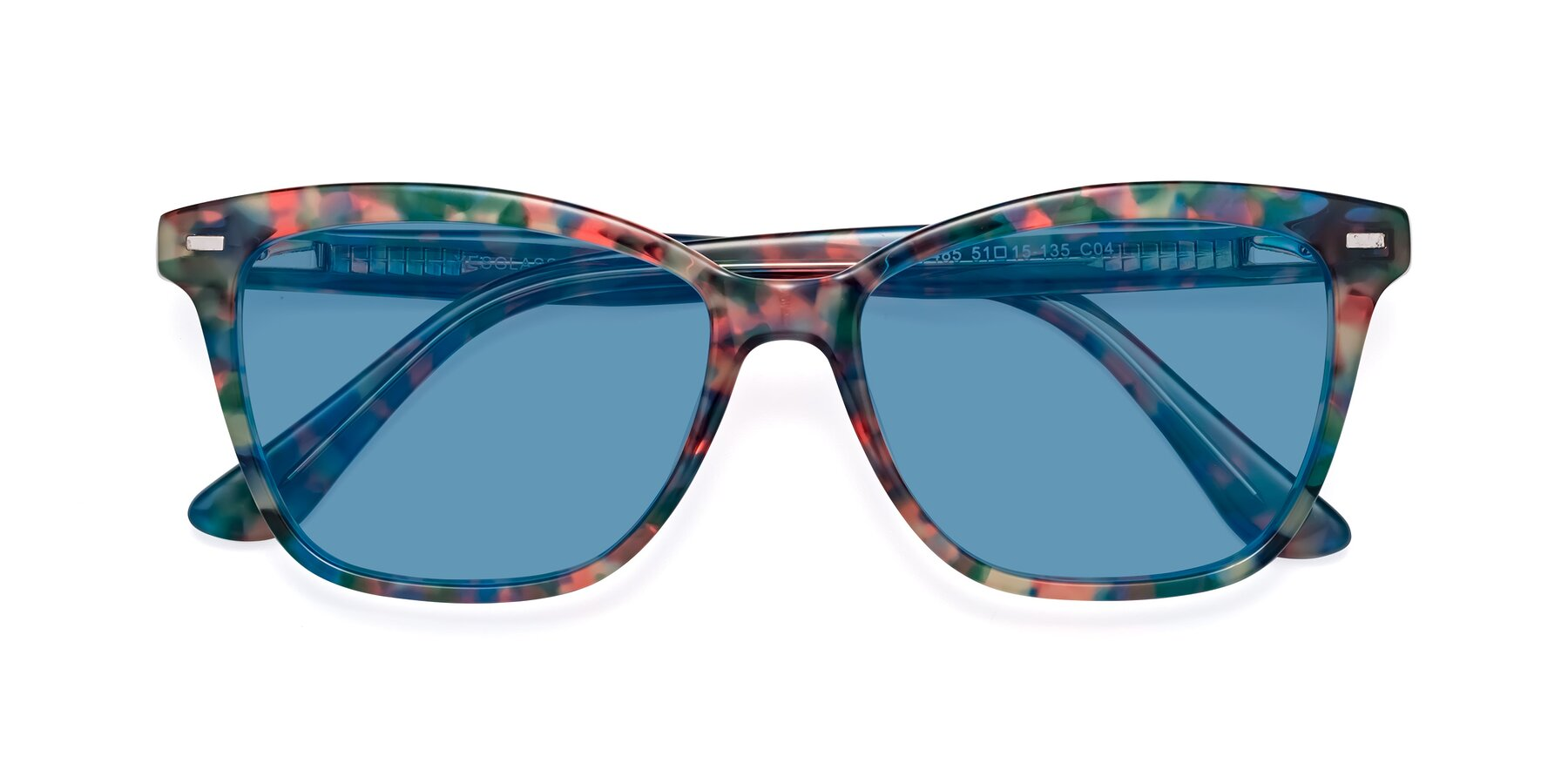Folded Front of 17485 in Floral Tortoise with Medium Blue Tinted Lenses