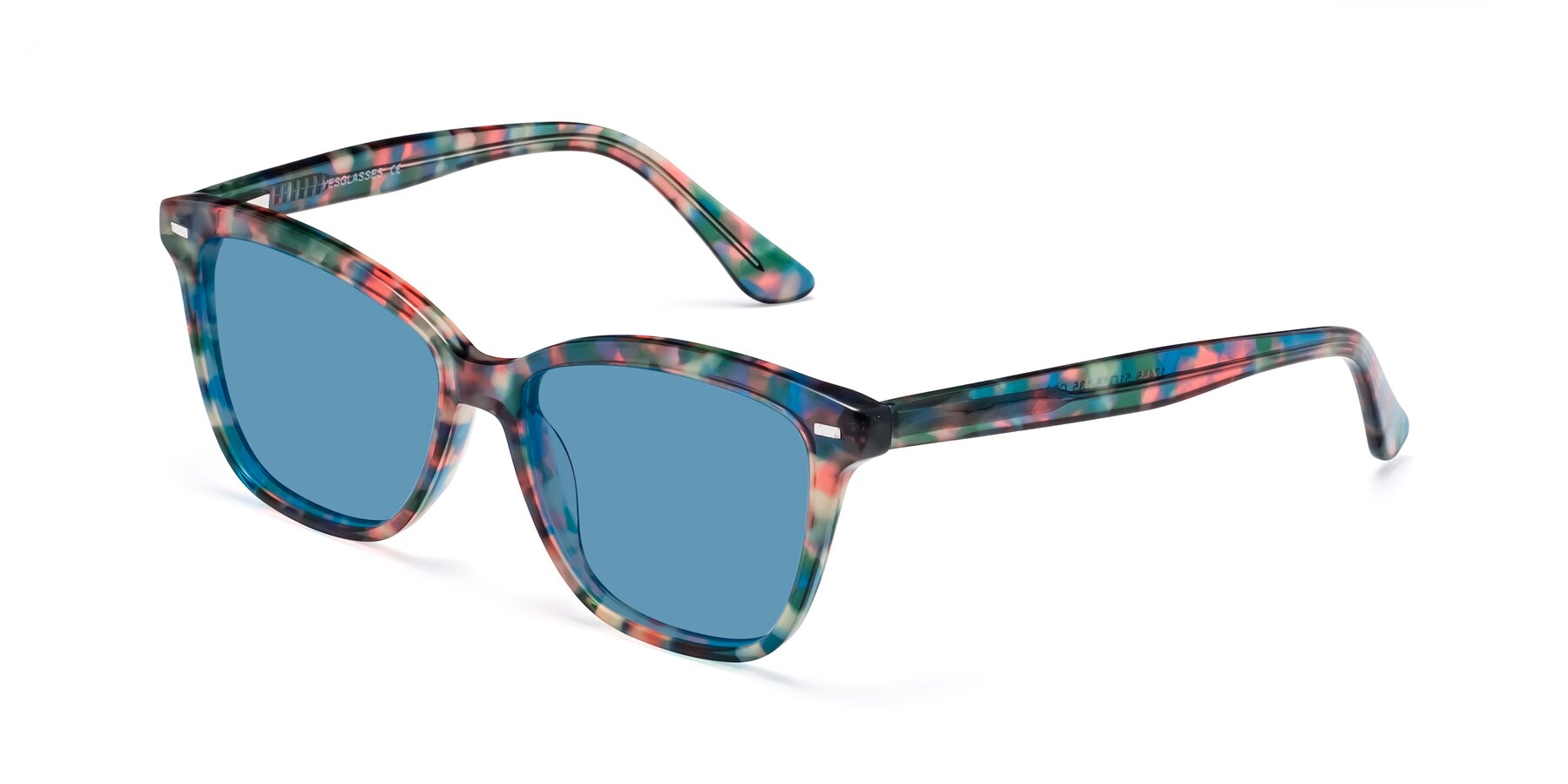 Angle of 17485 in Floral Tortoise with Medium Blue Tinted Lenses